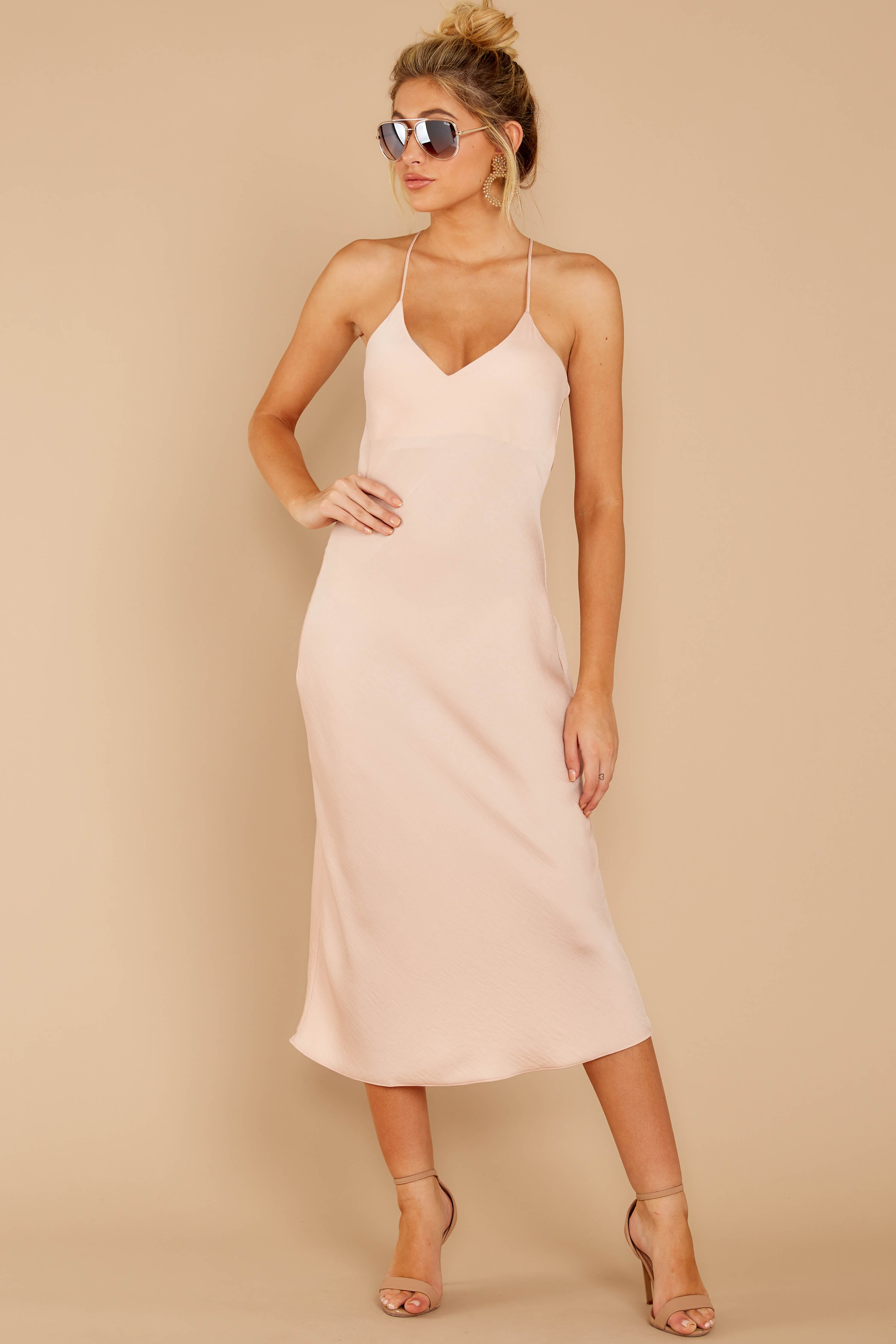 1 Simplified Style Beige Midi Dress at reddressboutique.com