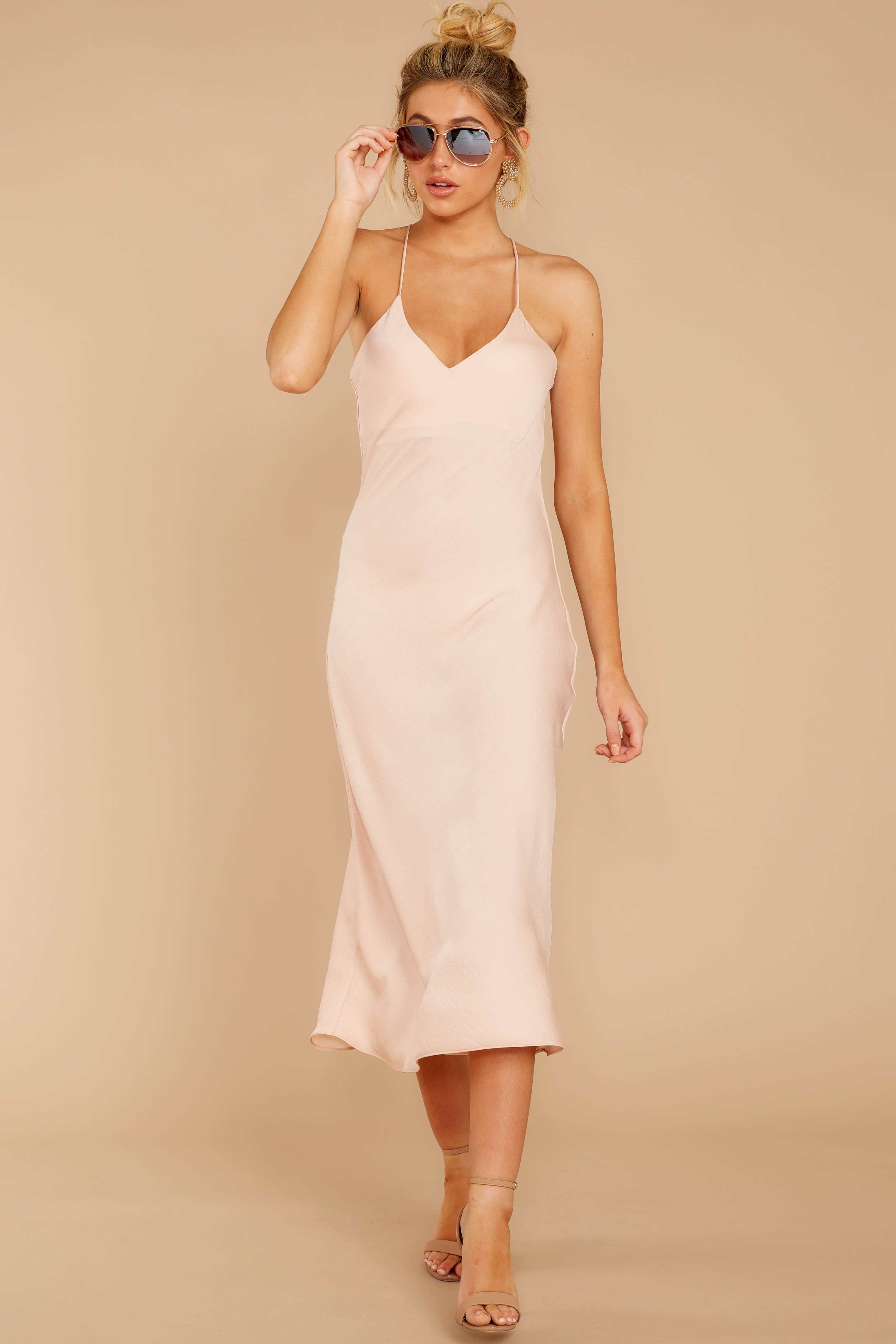 2 Simplified Style Beige Midi Dress at reddressboutique.com