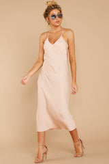 3 Simplified Style Beige Midi Dress at reddressboutique.com