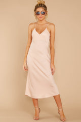 4 Simplified Style Beige Midi Dress at reddressboutique.com