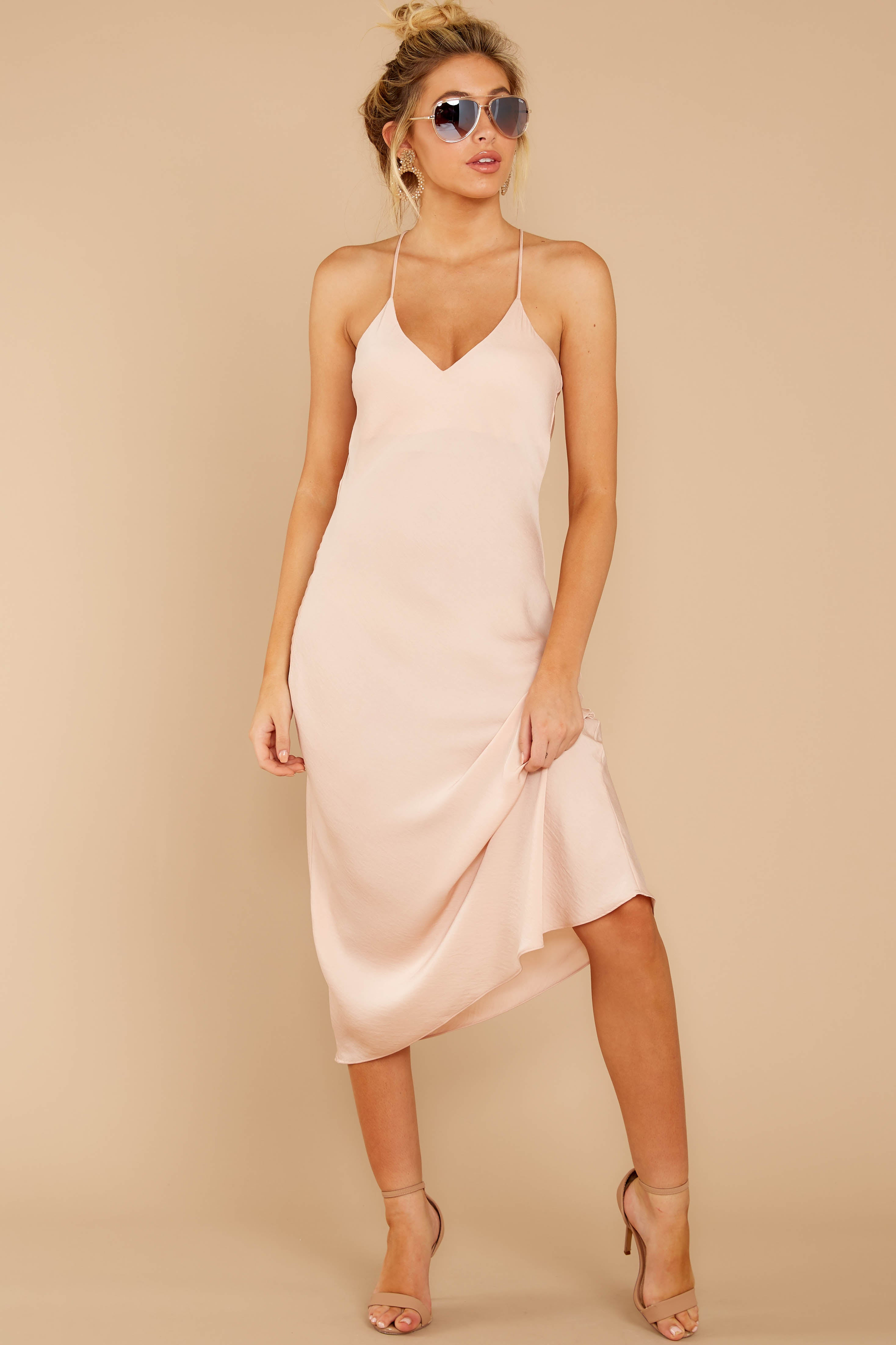 5 Simplified Style Beige Midi Dress at reddressboutique.com