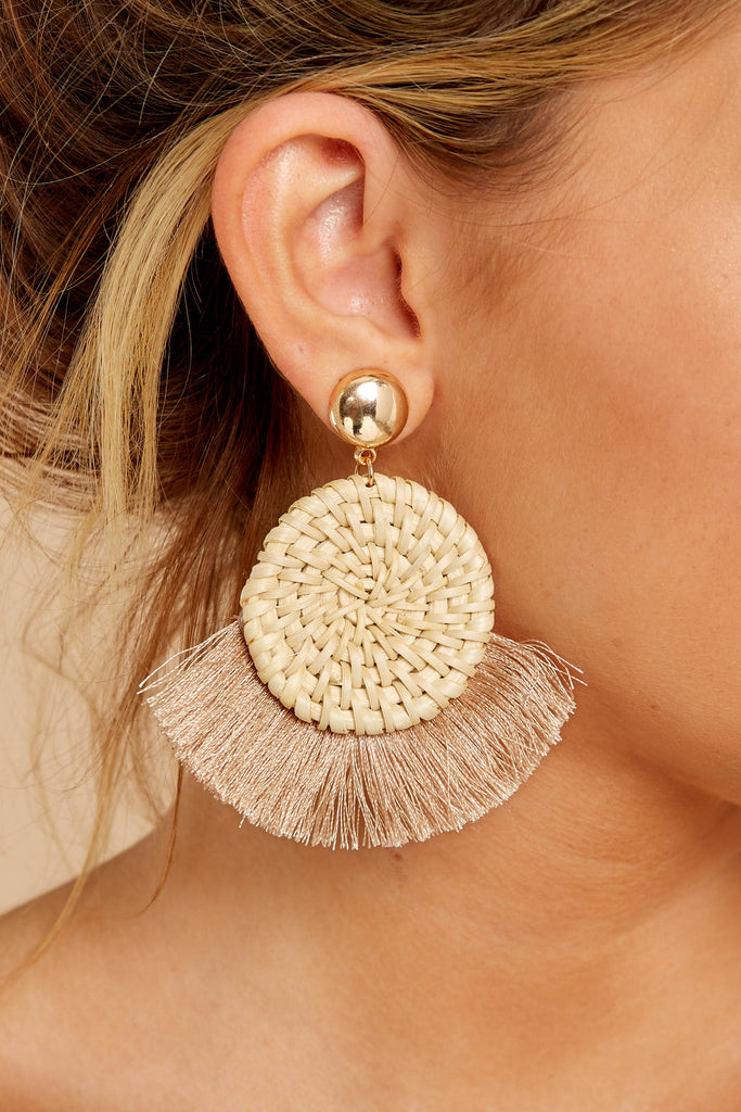 1 She's A Fan Ivory Multi Fringe Earrings at reddressboutique.com