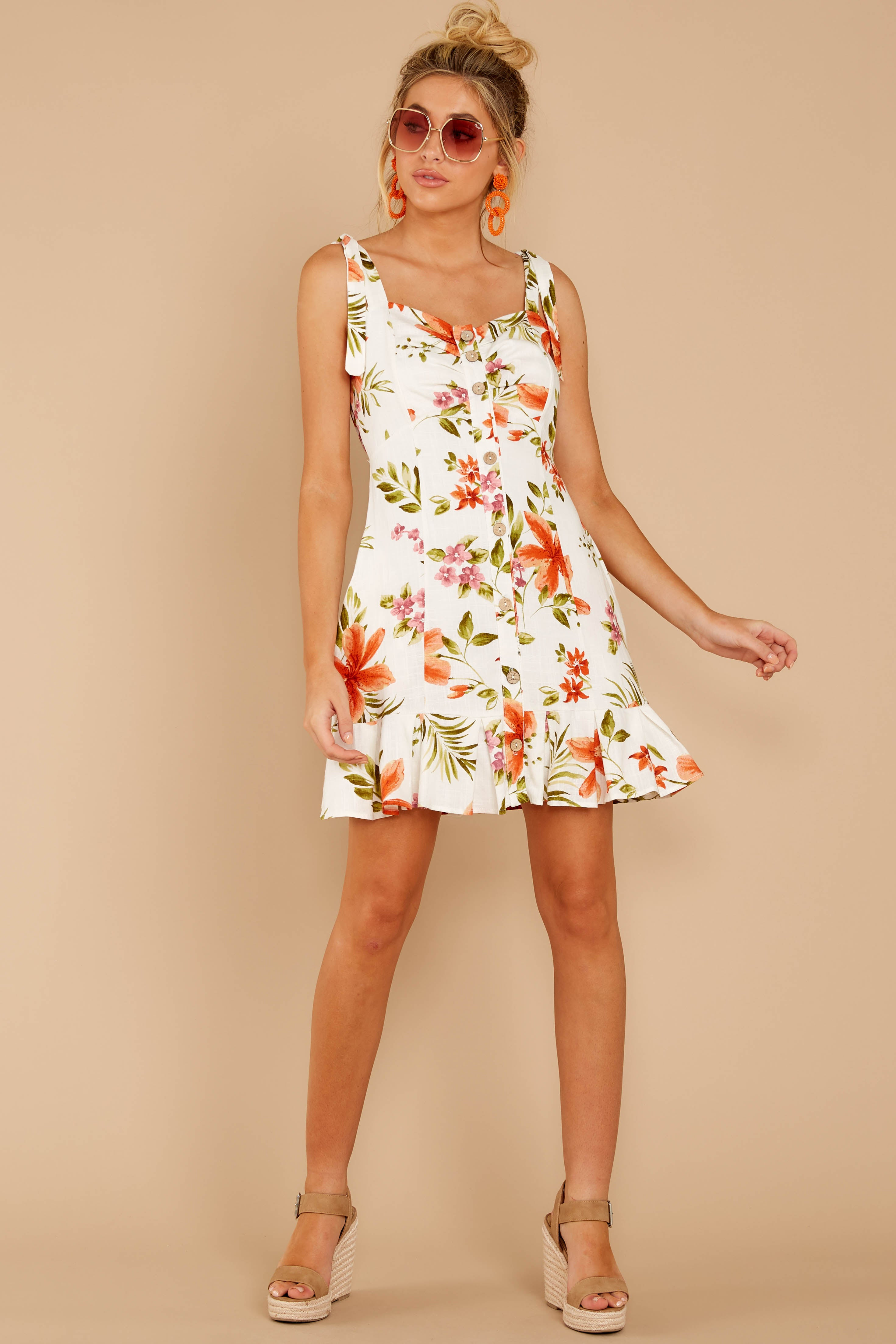 3 Middle Of The Memory White Floral Print Dress at reddressboutique.com
