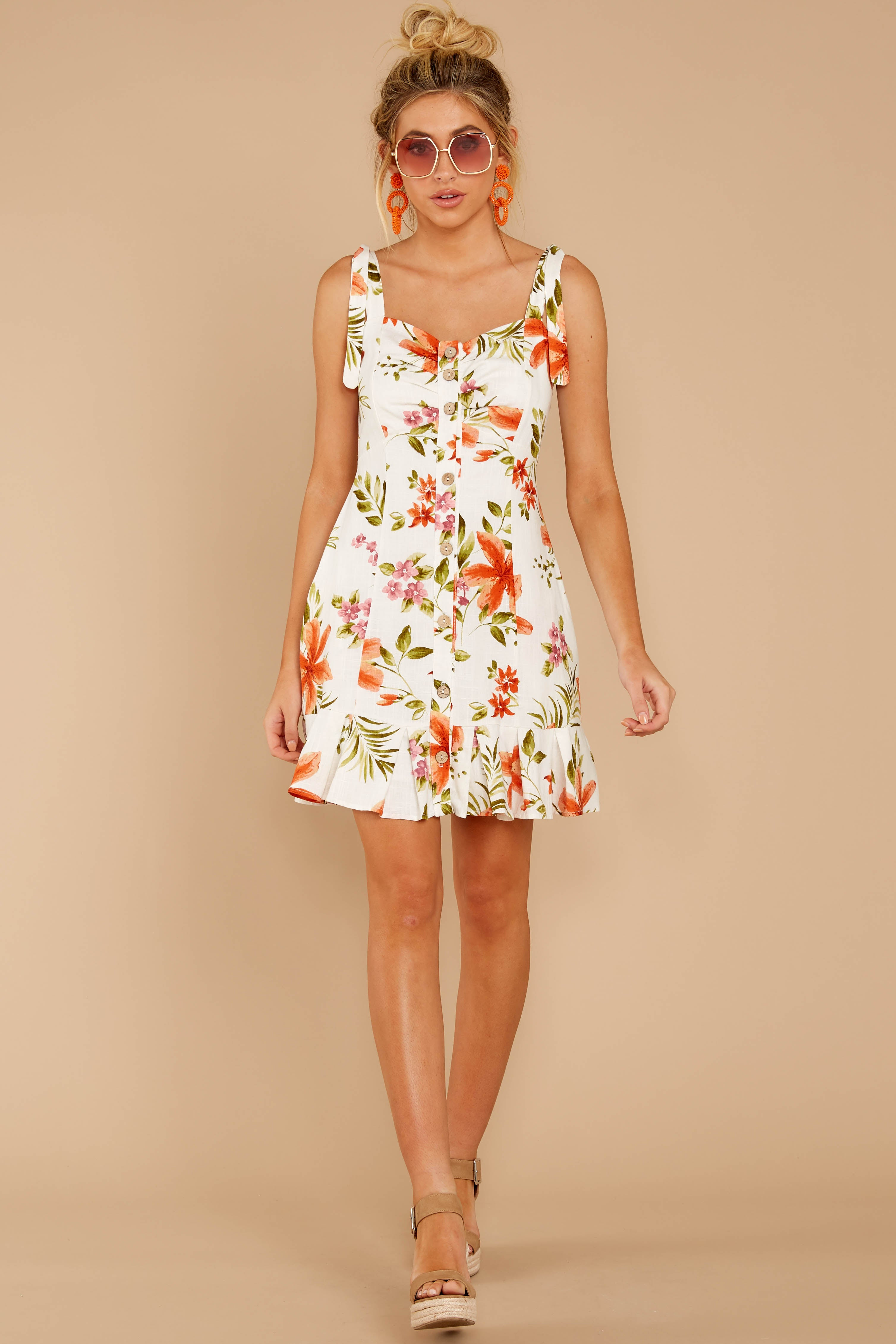 4 Middle Of The Memory White Floral Print Dress at reddressboutique.com