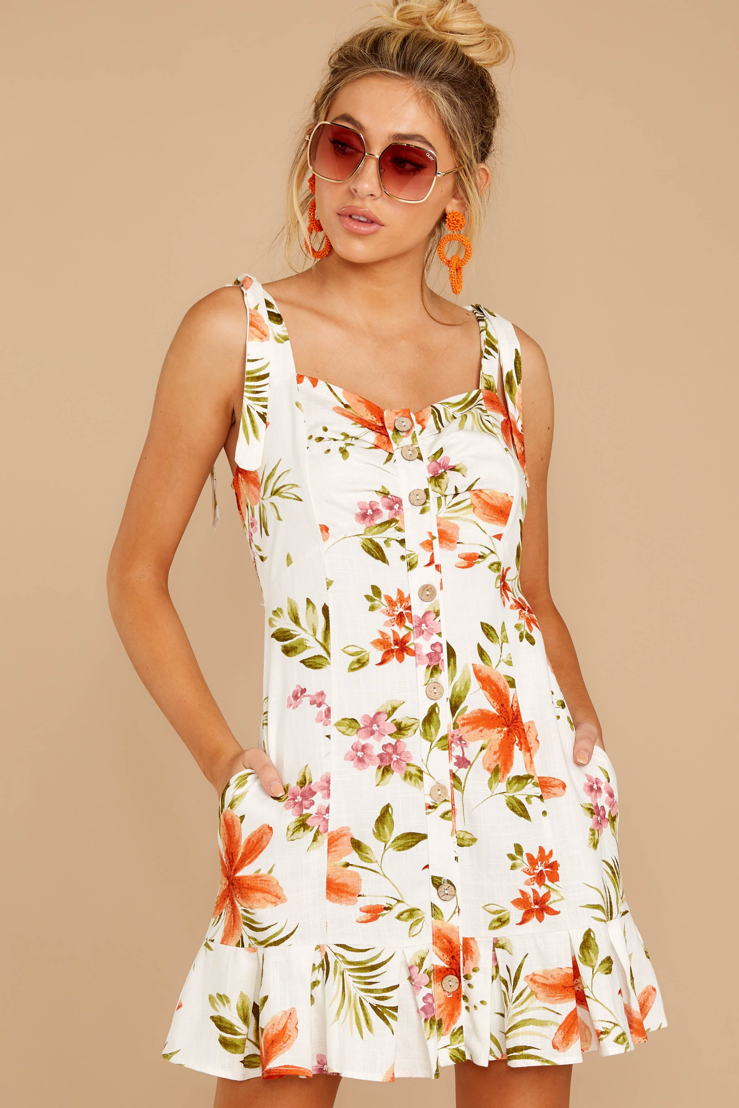 1 Middle Of The Memory White Floral Print Dress at reddressboutique.com