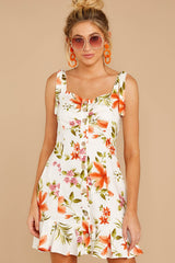 5 Middle Of The Memory White Floral Print Dress at reddressboutique.com