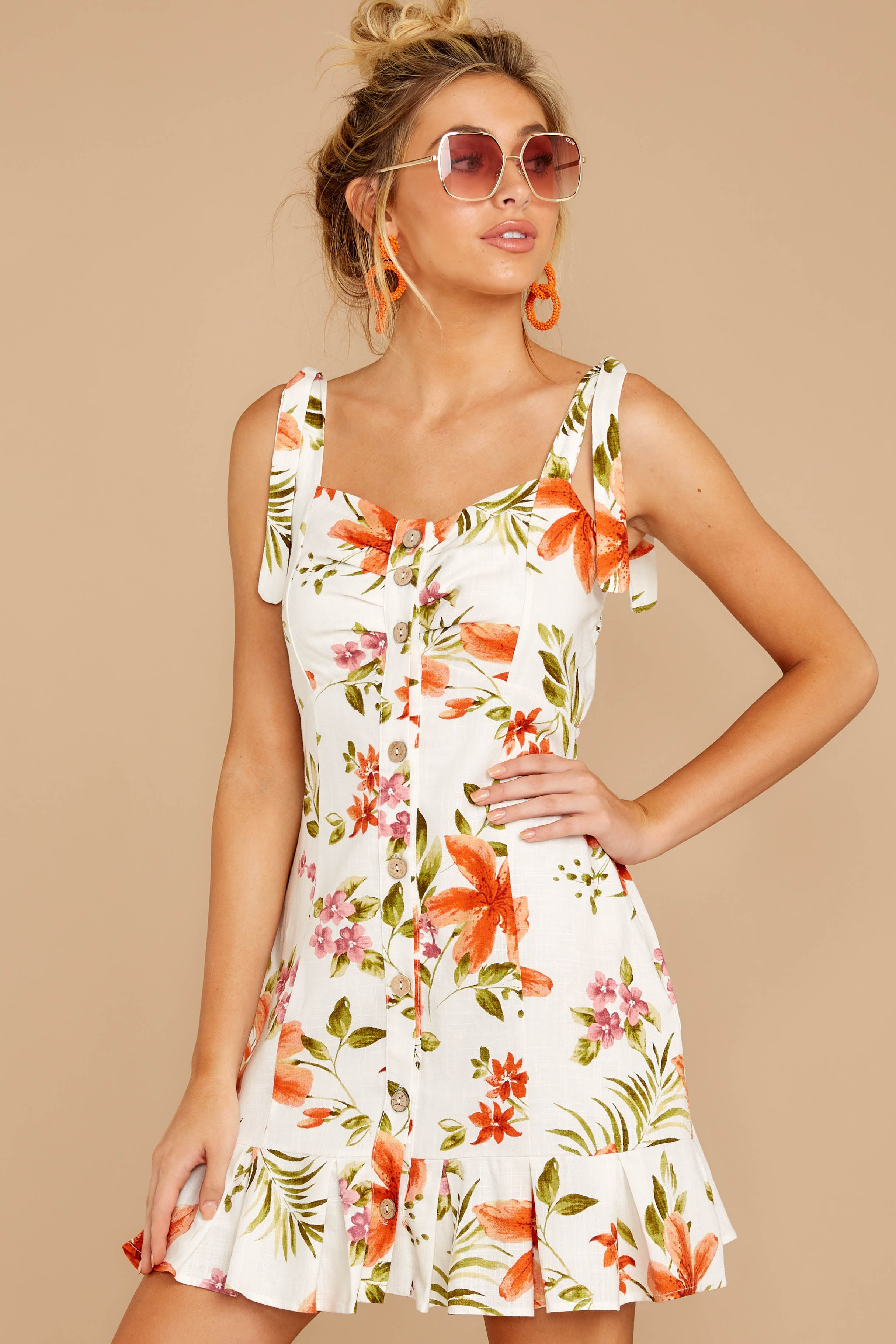 6 Middle Of The Memory White Floral Print Dress at reddressboutique.com
