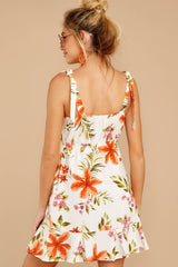 7 Middle Of The Memory White Floral Print Dress at reddressboutique.com