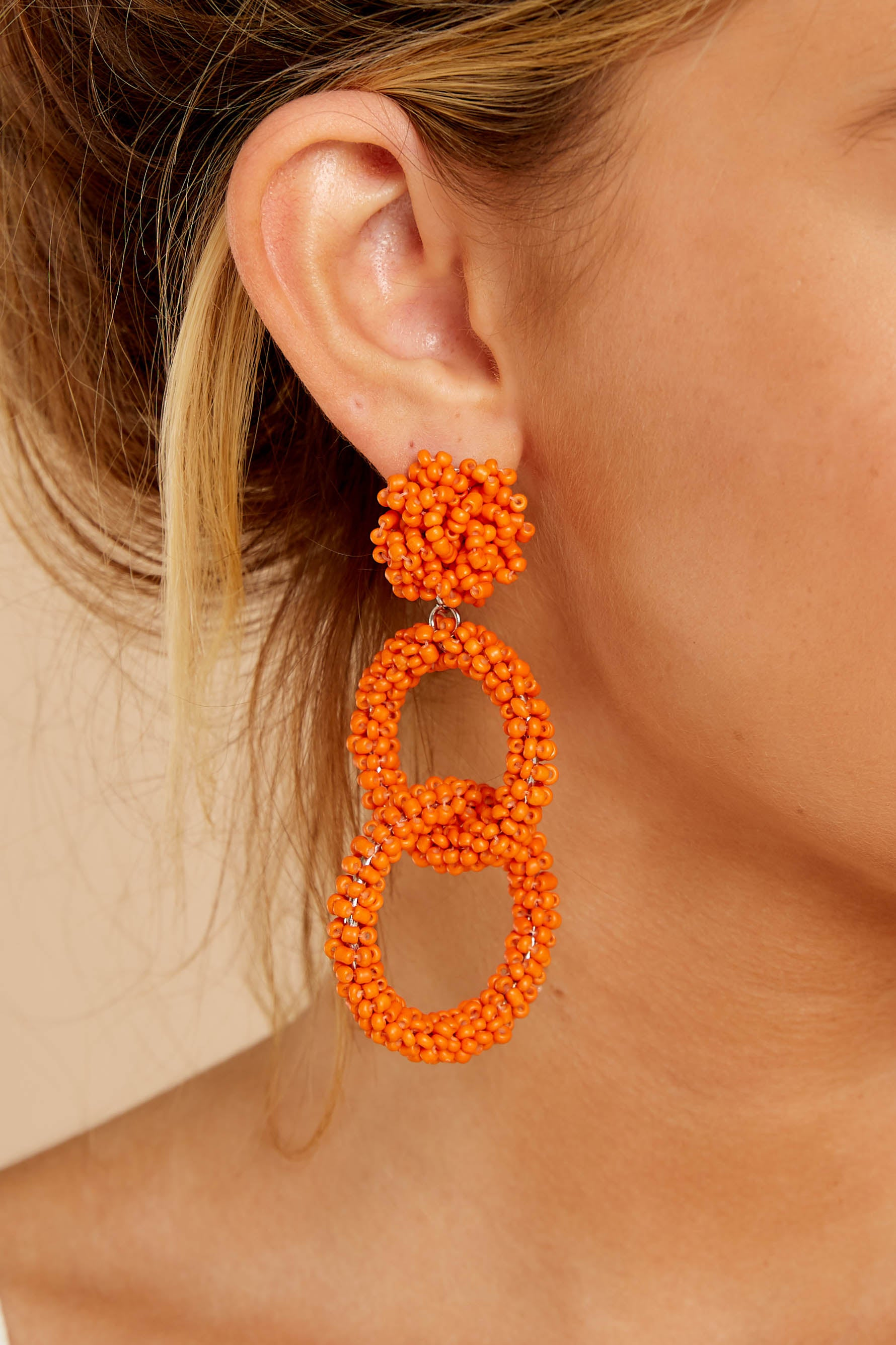 1 Excitement Doubled Tomato Orange Beaded Earrings at reddress.com