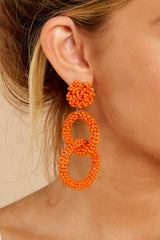 1 Excitement Doubled Tomato Orange Beaded Earrings at reddressboutique.com