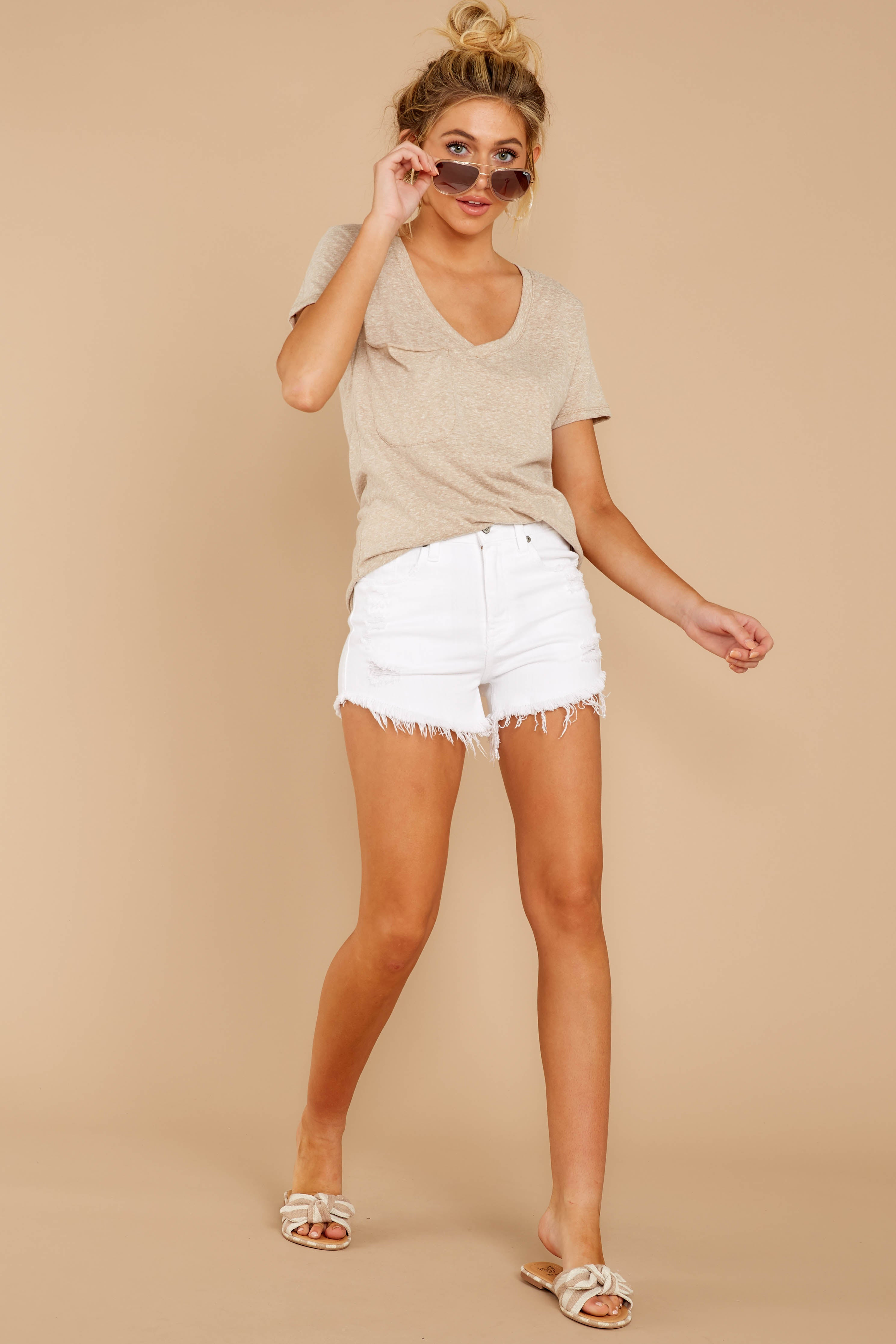 3 The Simply Taupe Triblend Pocket Tee at reddressboutique.com