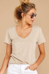 4 The Simply Taupe Triblend Pocket Tee at reddressboutique.com