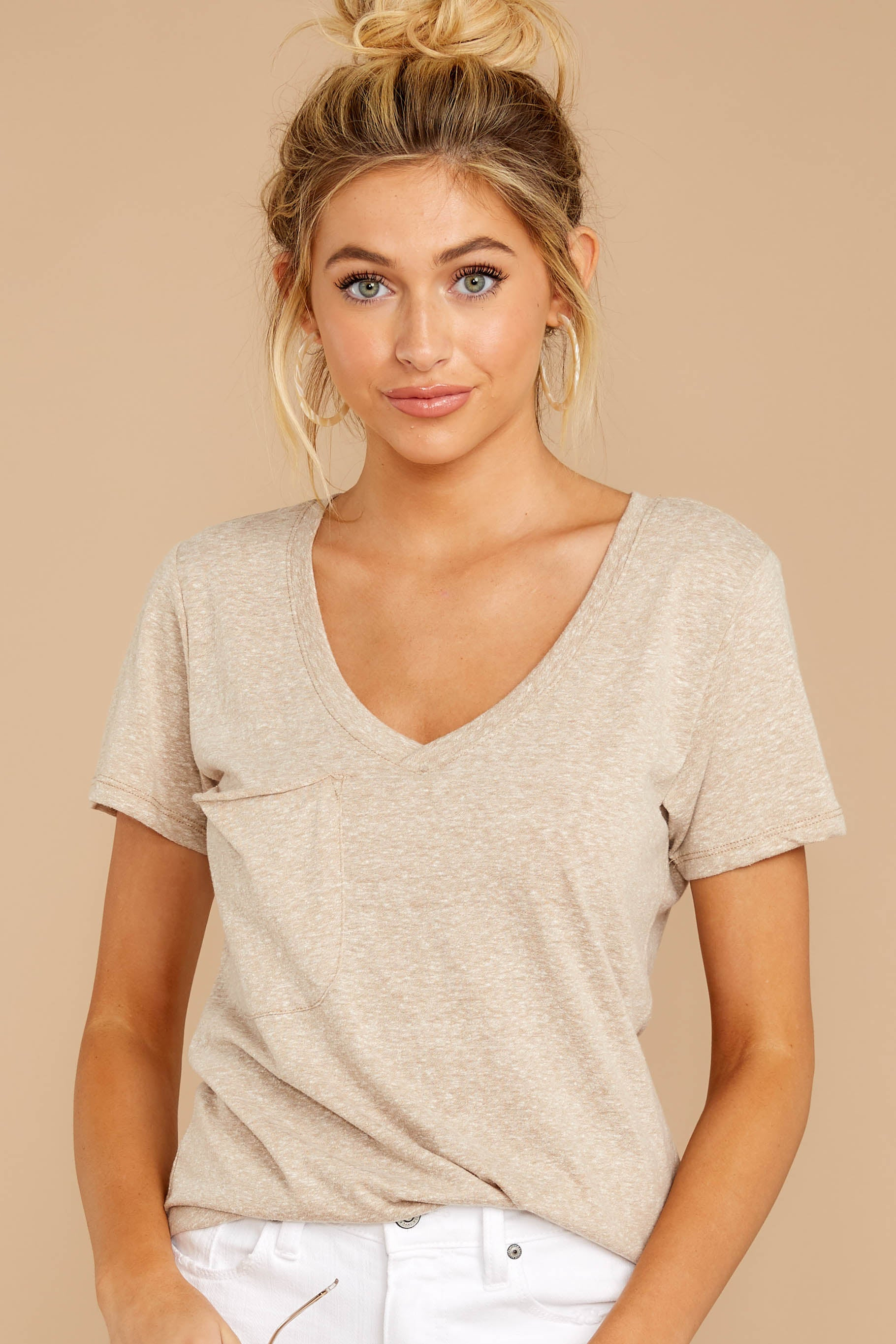 5 The Simply Taupe Triblend Pocket Tee at reddressboutique.com