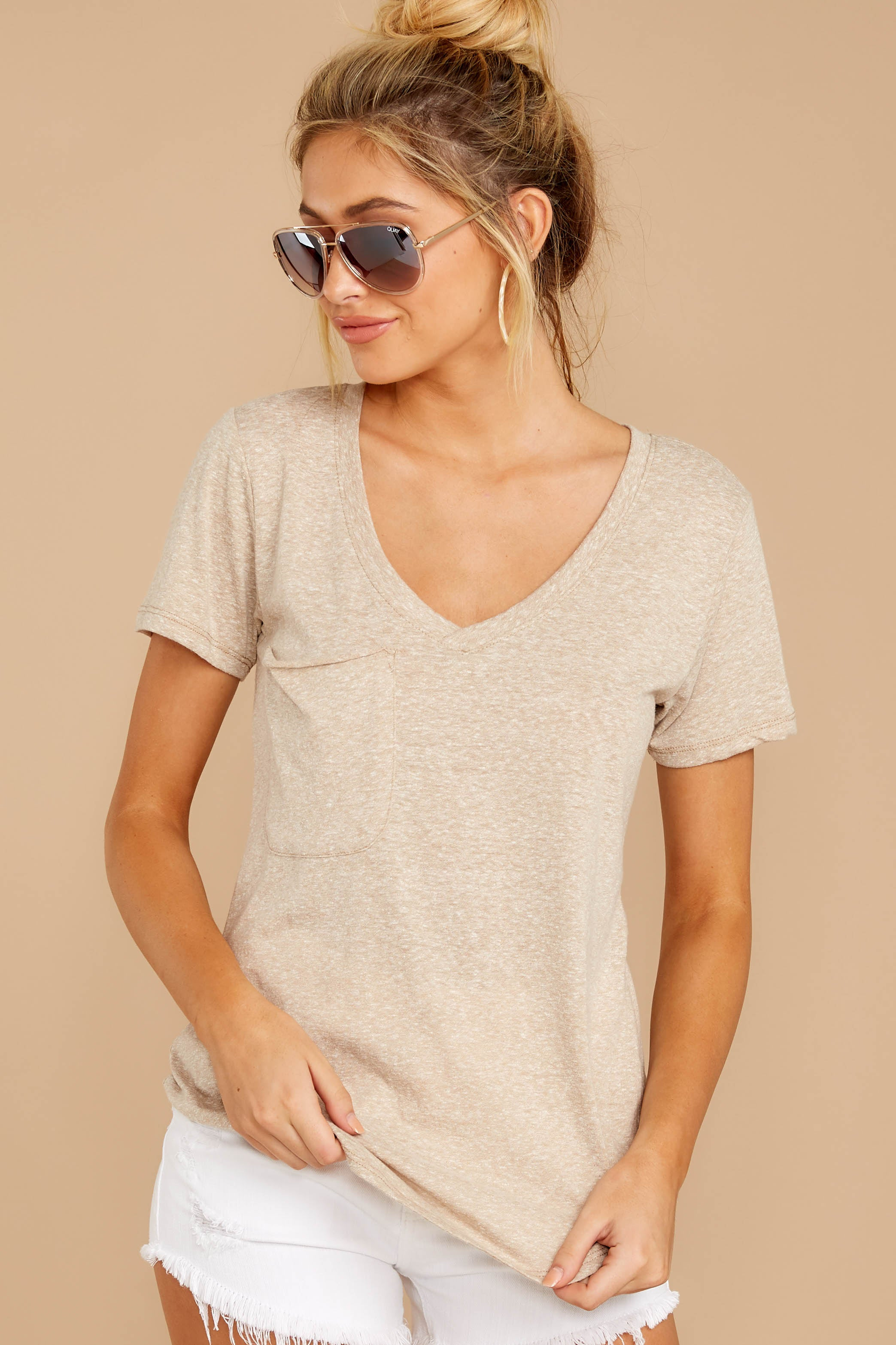 6 The Simply Taupe Triblend Pocket Tee at reddressboutique.com