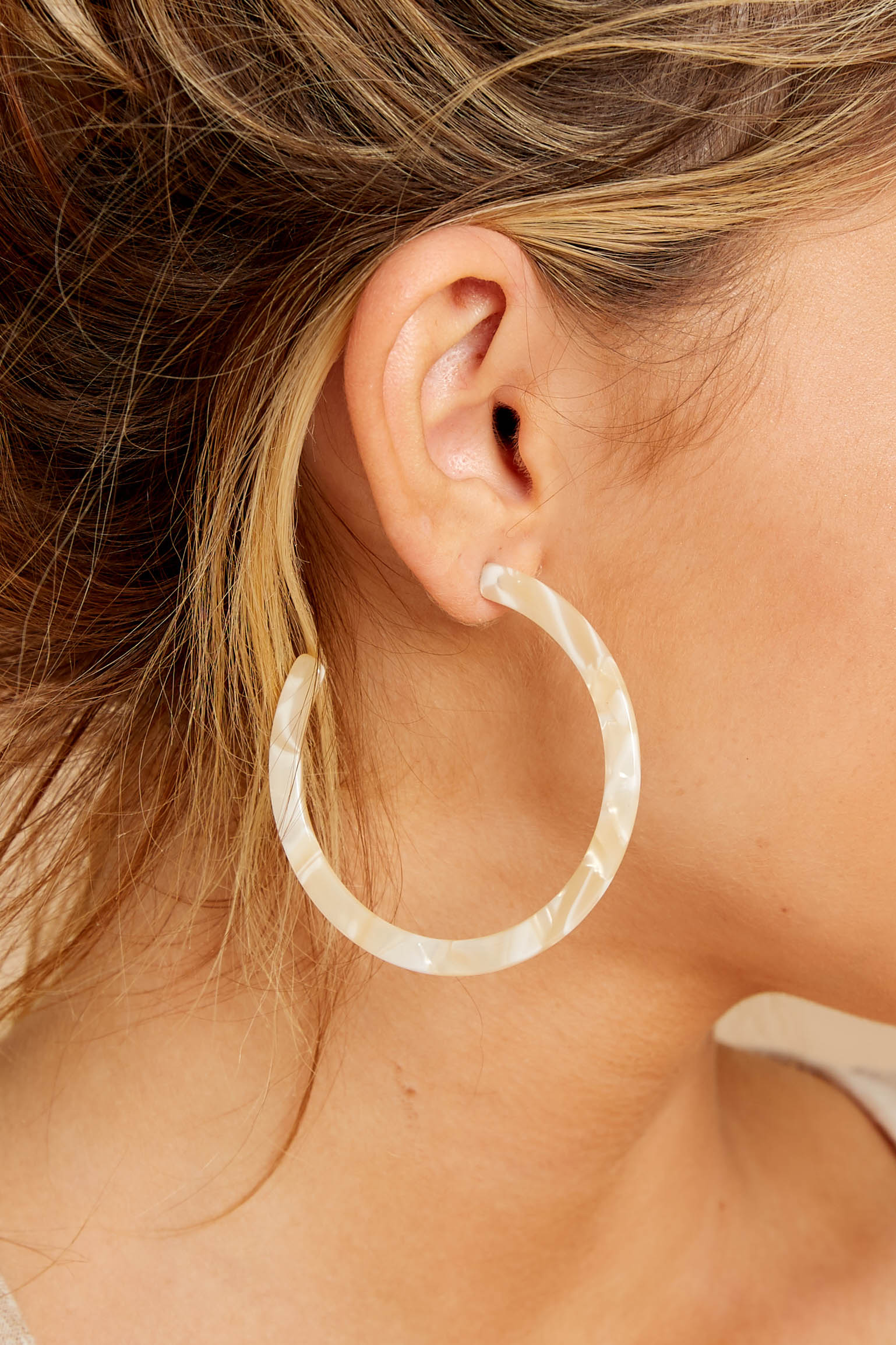 1 Through The Stone Beige Hoop Earrings at reddressboutique.com