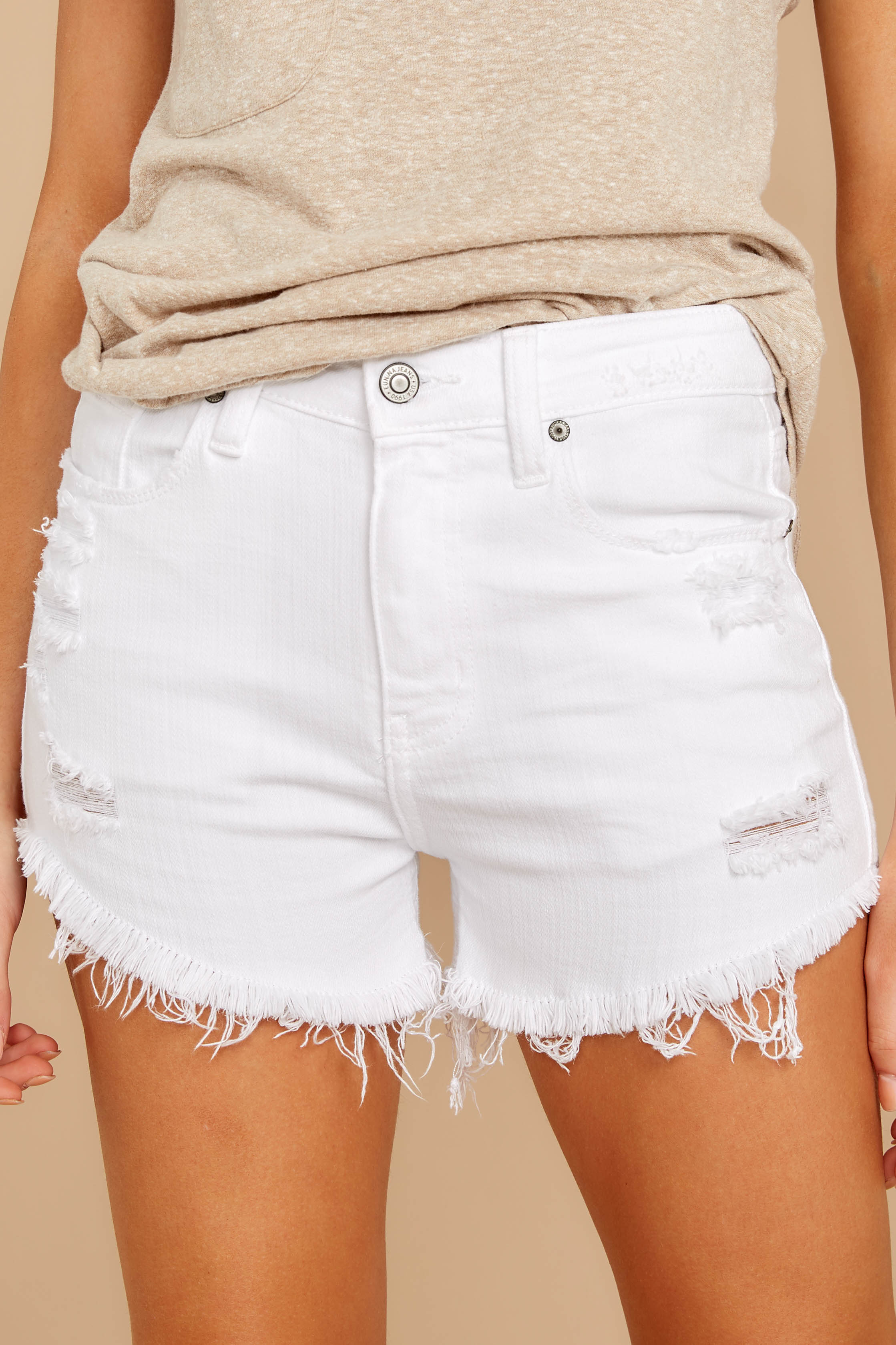 1 Admit To You White Distressed Denim Shorts at reddressboutique.com