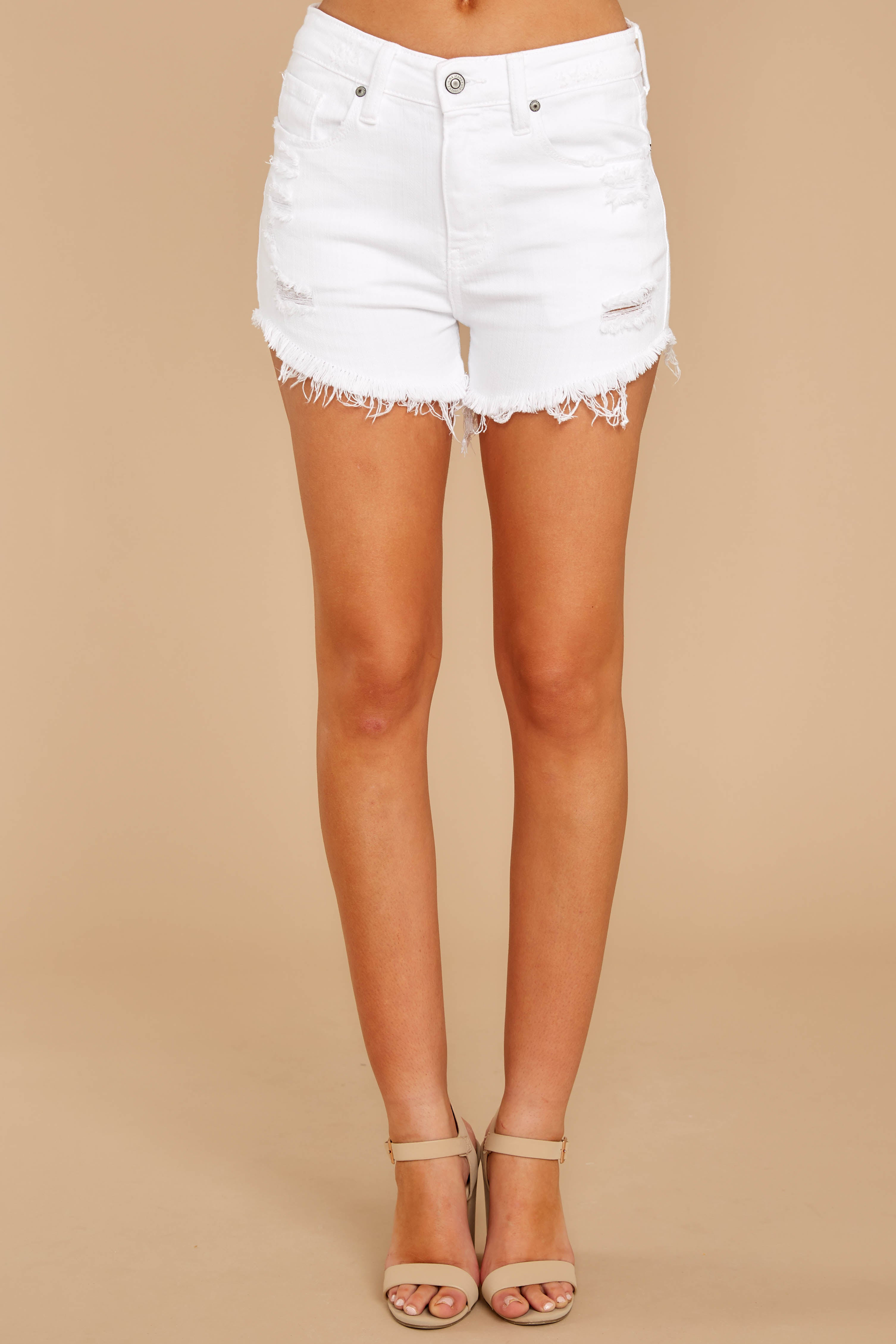 2 Admit To You White Distressed Denim Shorts at reddressboutique.com