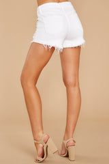 3 Admit To You White Distressed Denim Shorts at reddressboutique.com