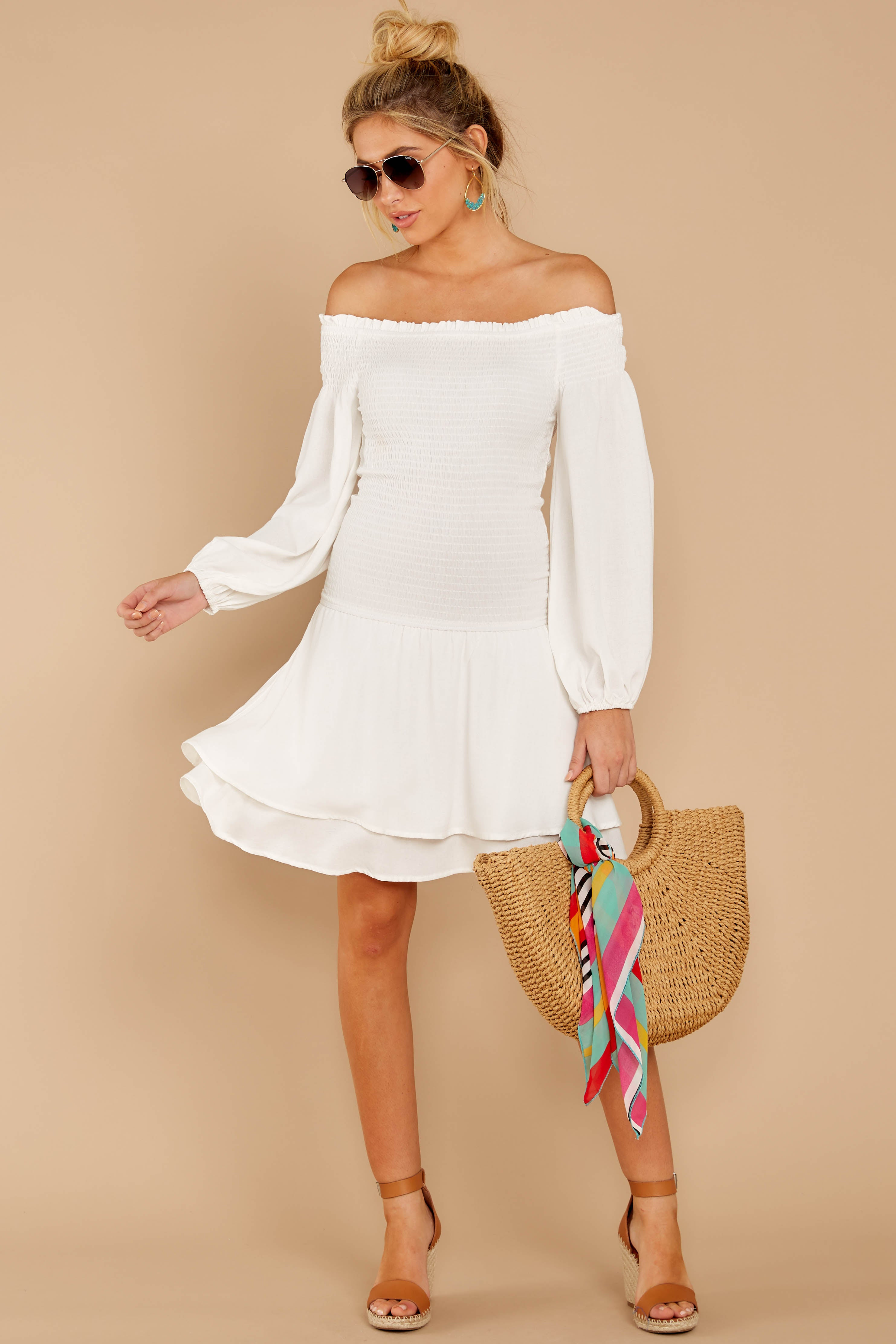 1 Keep Focused White Off The Shoulder Dress at reddressboutique.com
