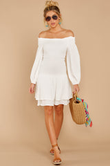 2 Keep Focused White Off The Shoulder Dress at reddressboutique.com