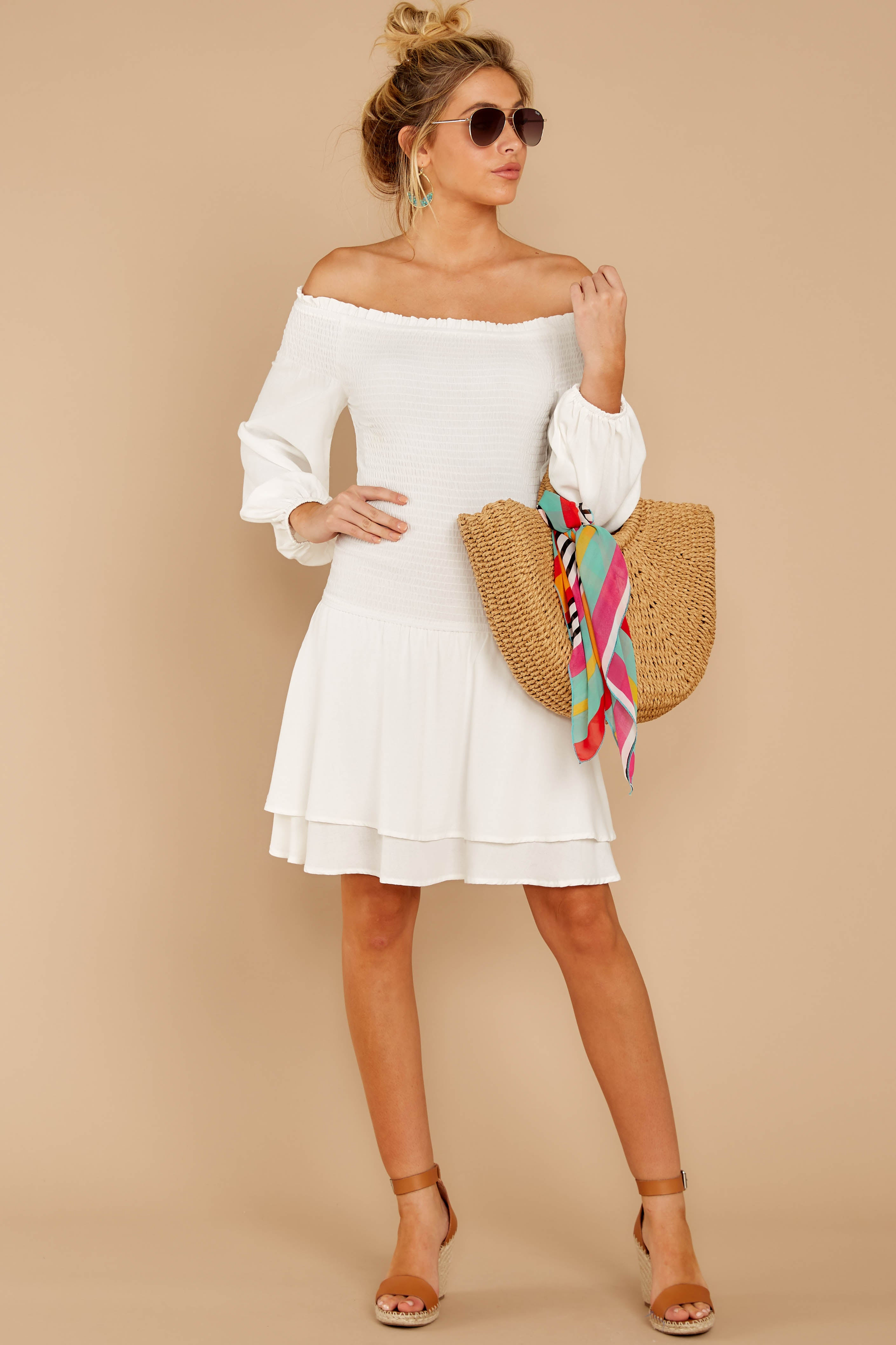 3 Keep Focused White Off The Shoulder Dress at reddressboutique.com