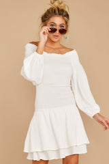 4 Keep Focused White Off The Shoulder Dress at reddressboutique.com