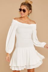 5 Keep Focused White Off The Shoulder Dress at reddressboutique.com