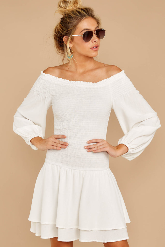 1 Heart In Havana Vanilla Cream Off The Shoulder Dress at reddressboutique.com