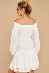 7 Keep Focused White Off The Shoulder Dress at reddressboutique.com