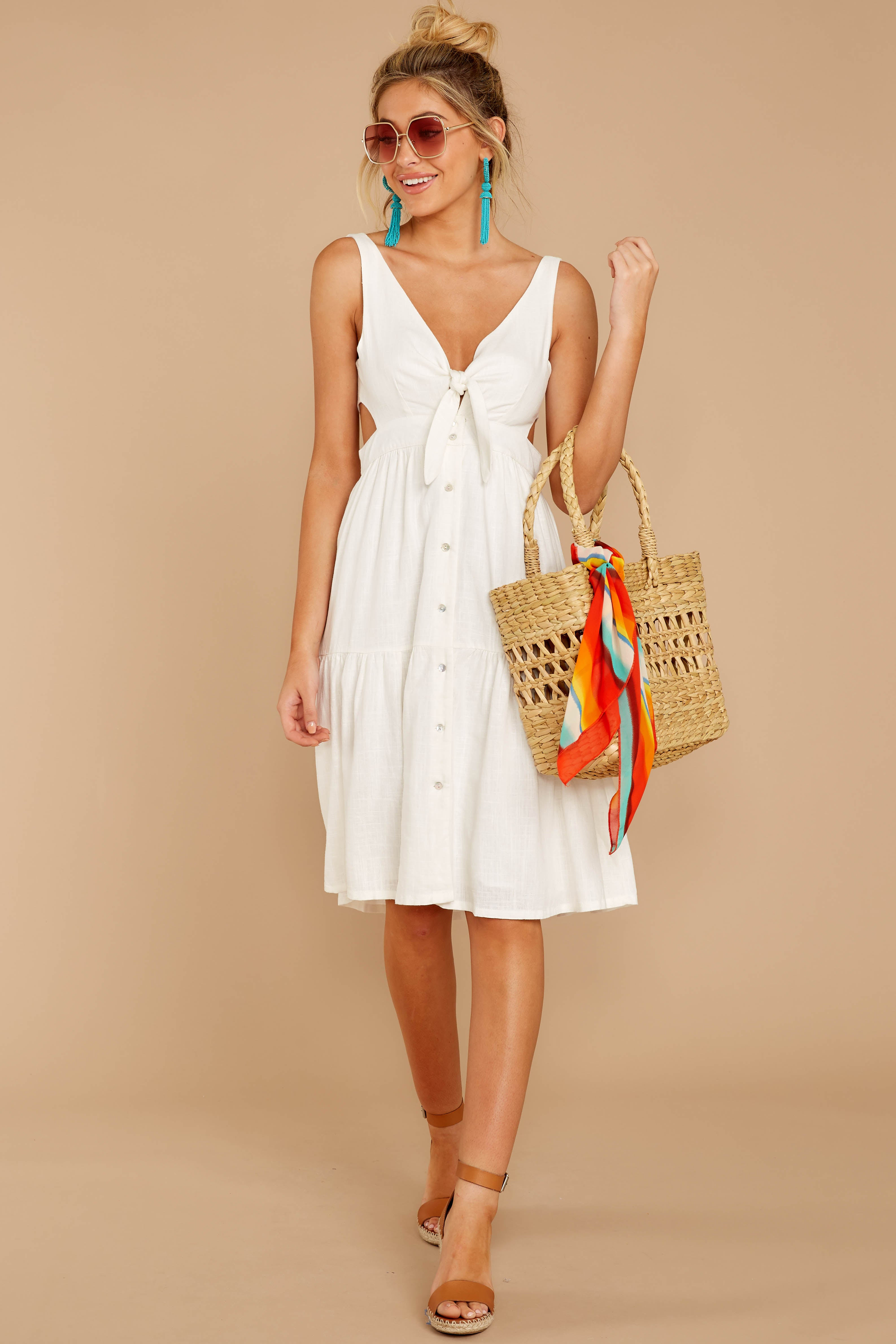 3 Happy Summer White Midi Dress at reddressboutique.com