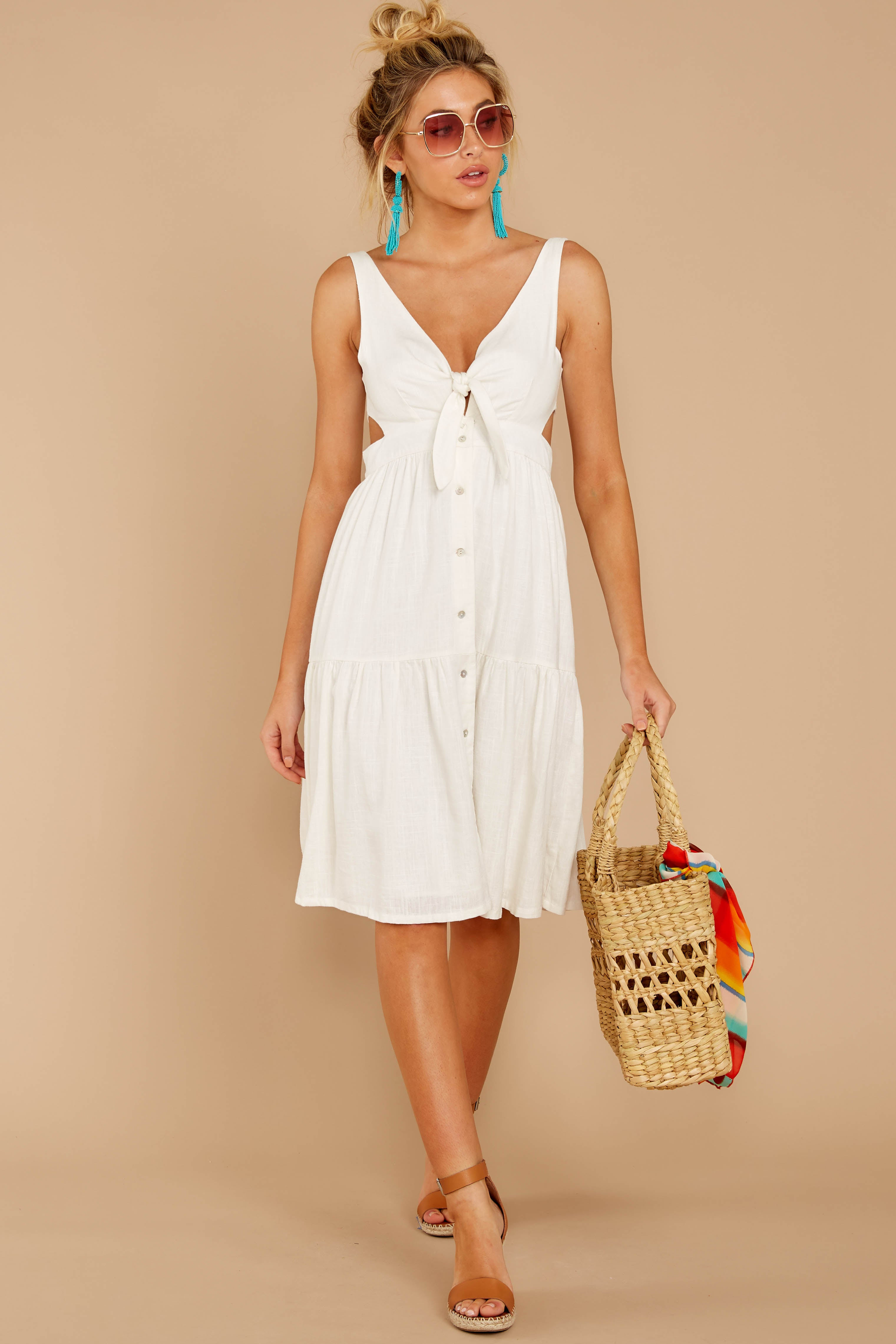 4 Happy Summer White Midi Dress at reddressboutique.com