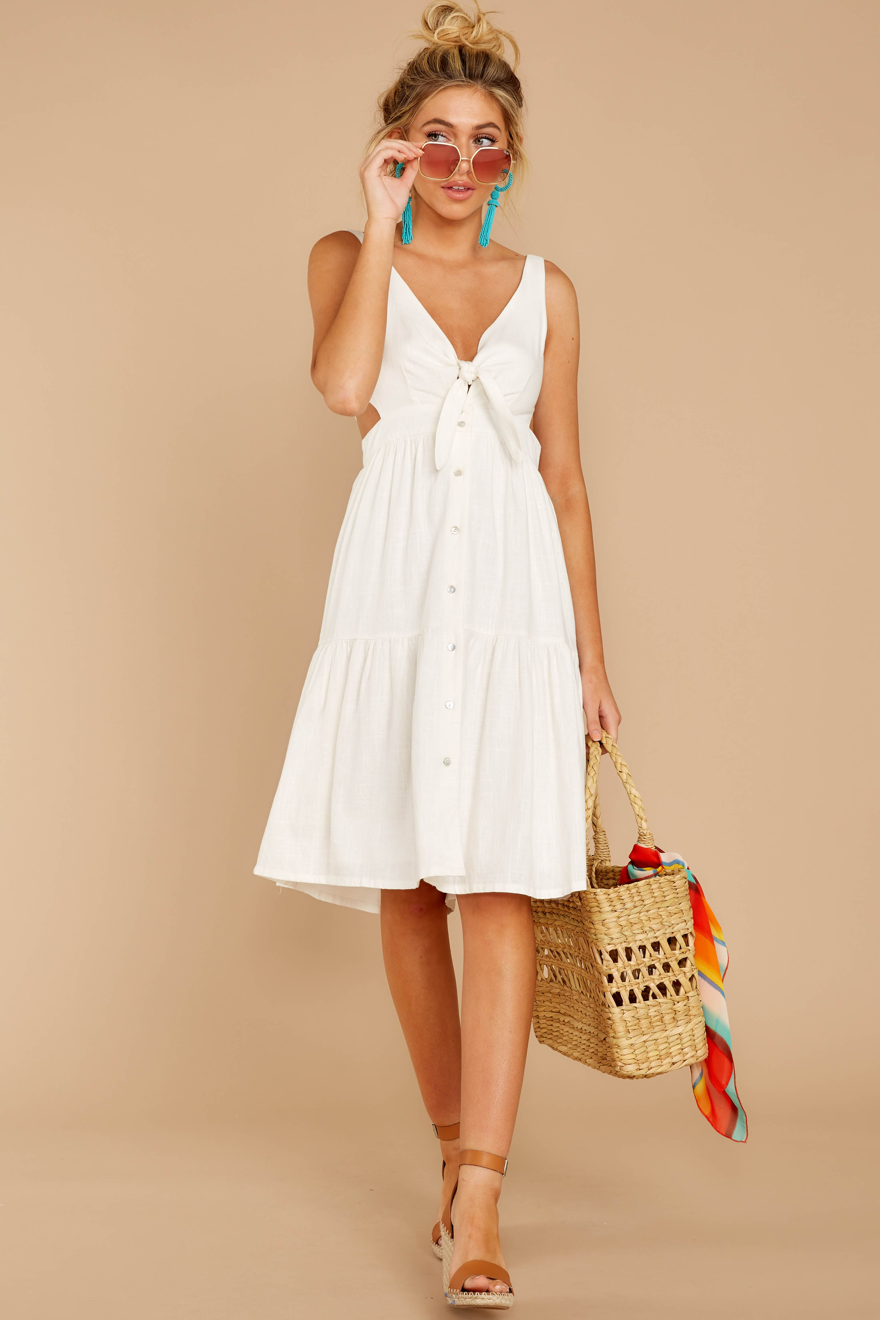 2 Happy Summer White Midi Dress at reddressboutique.com