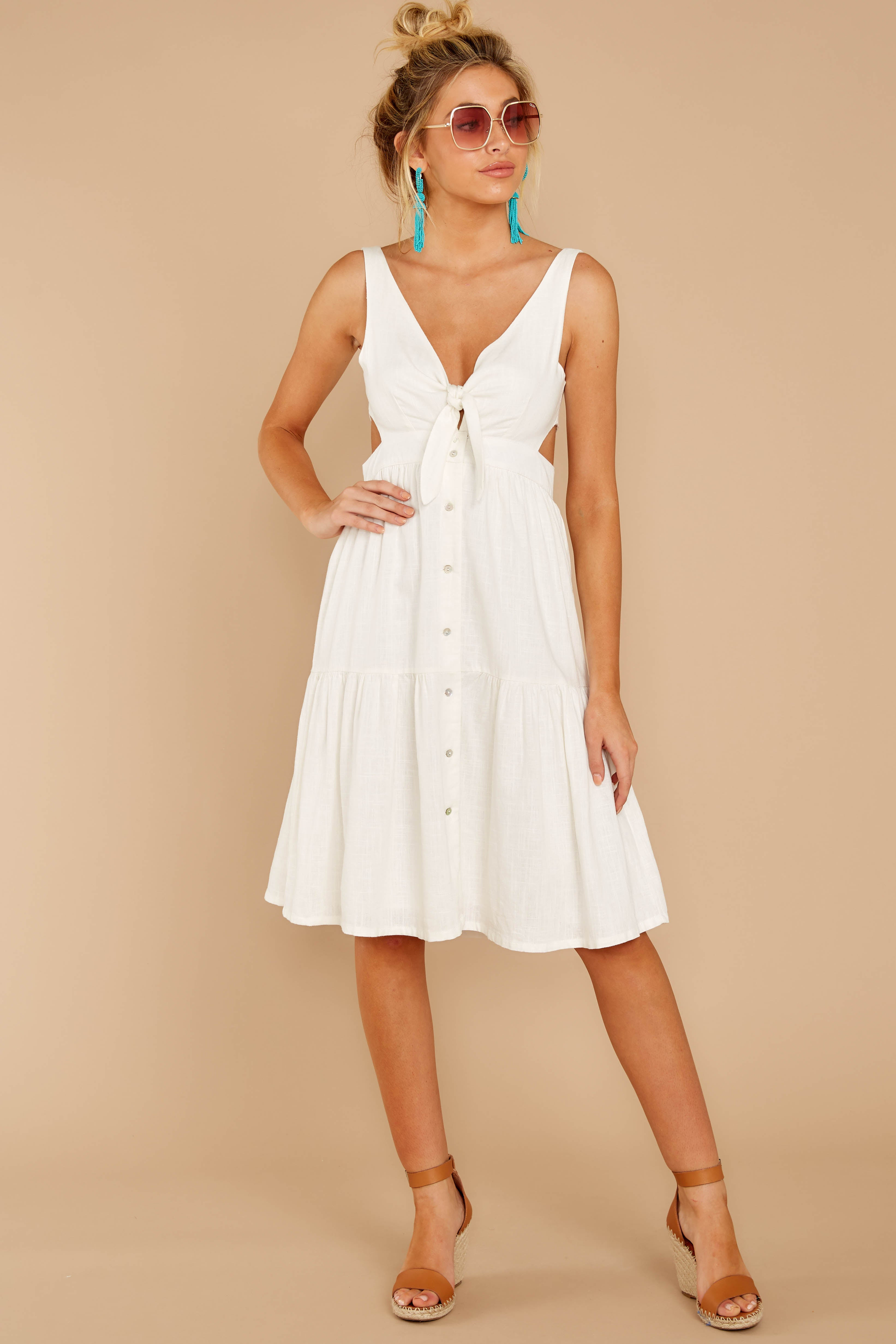 1 Happy Summer White Midi Dress at reddressboutique.com
