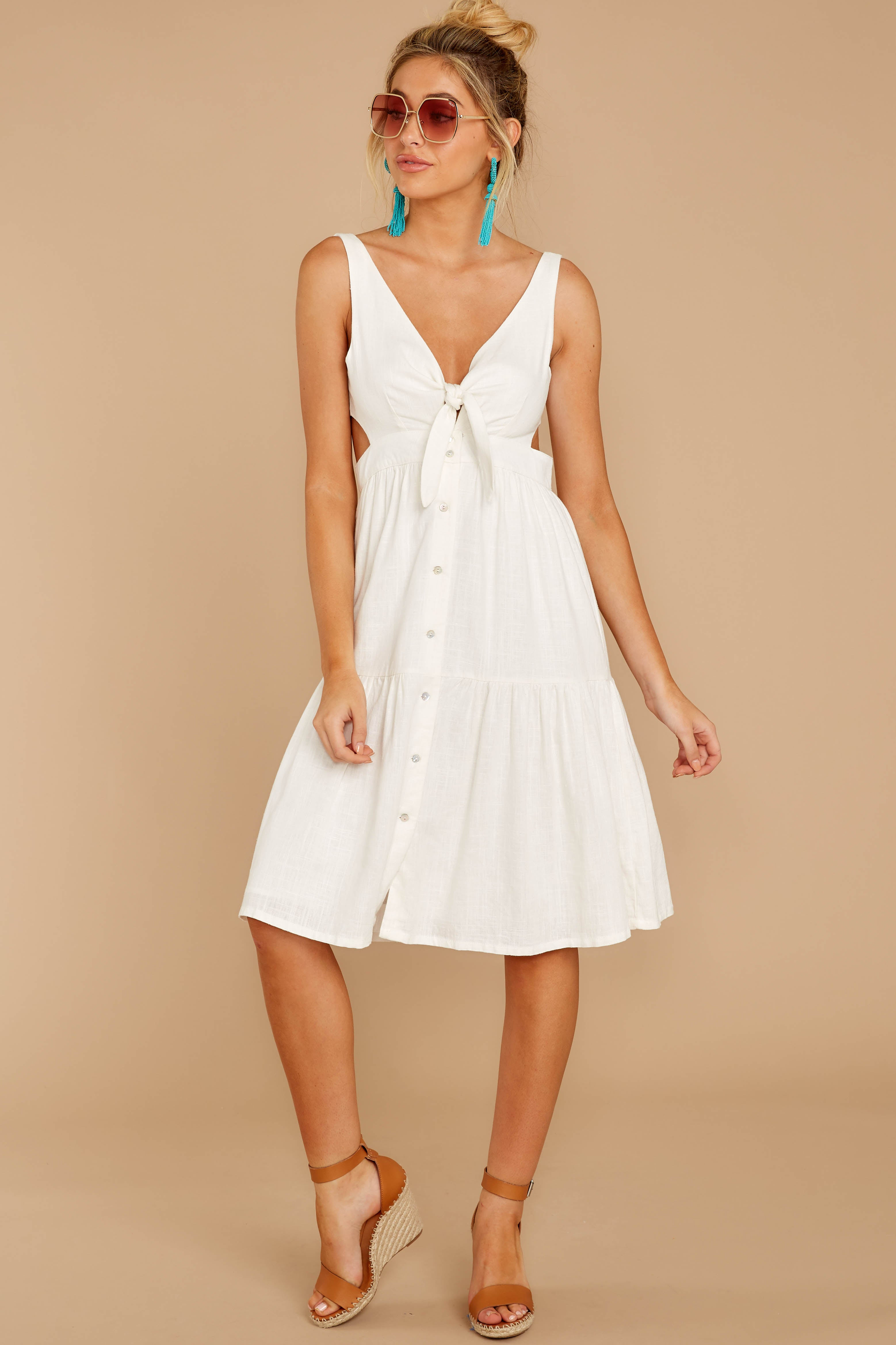 6 Happy Summer White Midi Dress at reddressboutique.com