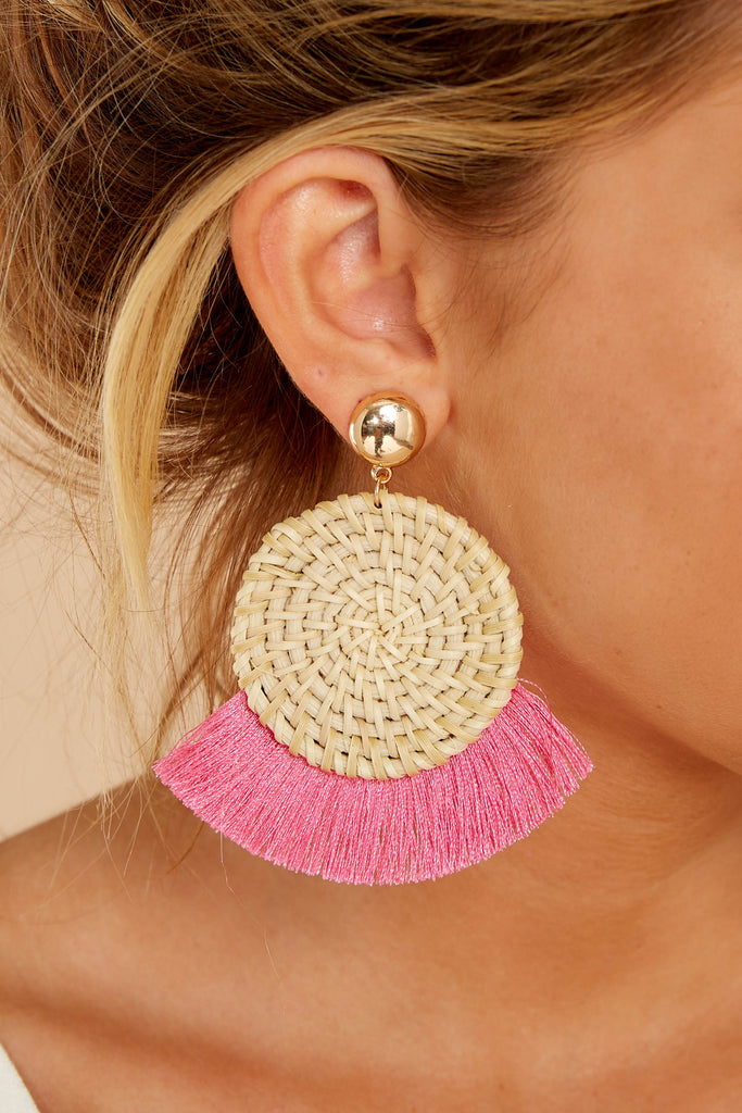 Not Too Late Hot Pink Earrings