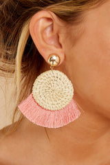 1 Ready Set Shine Blush Pink Fringe Earrings at reddressboutique.com