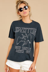 Led Zeppelin 1977 Weekend Vintage Black Tee