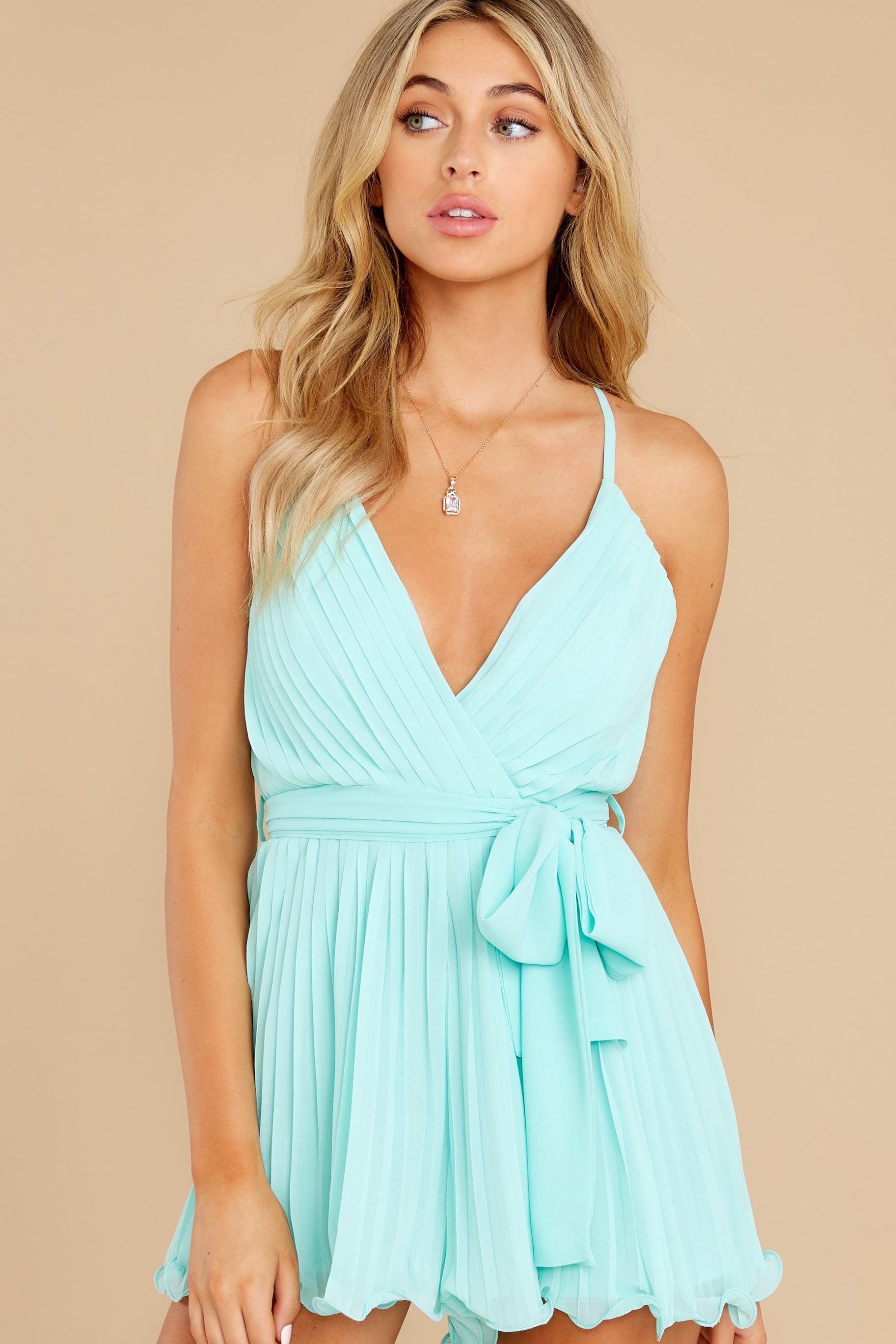 7 Everywhere You Look Aqua Romper at reddress.com