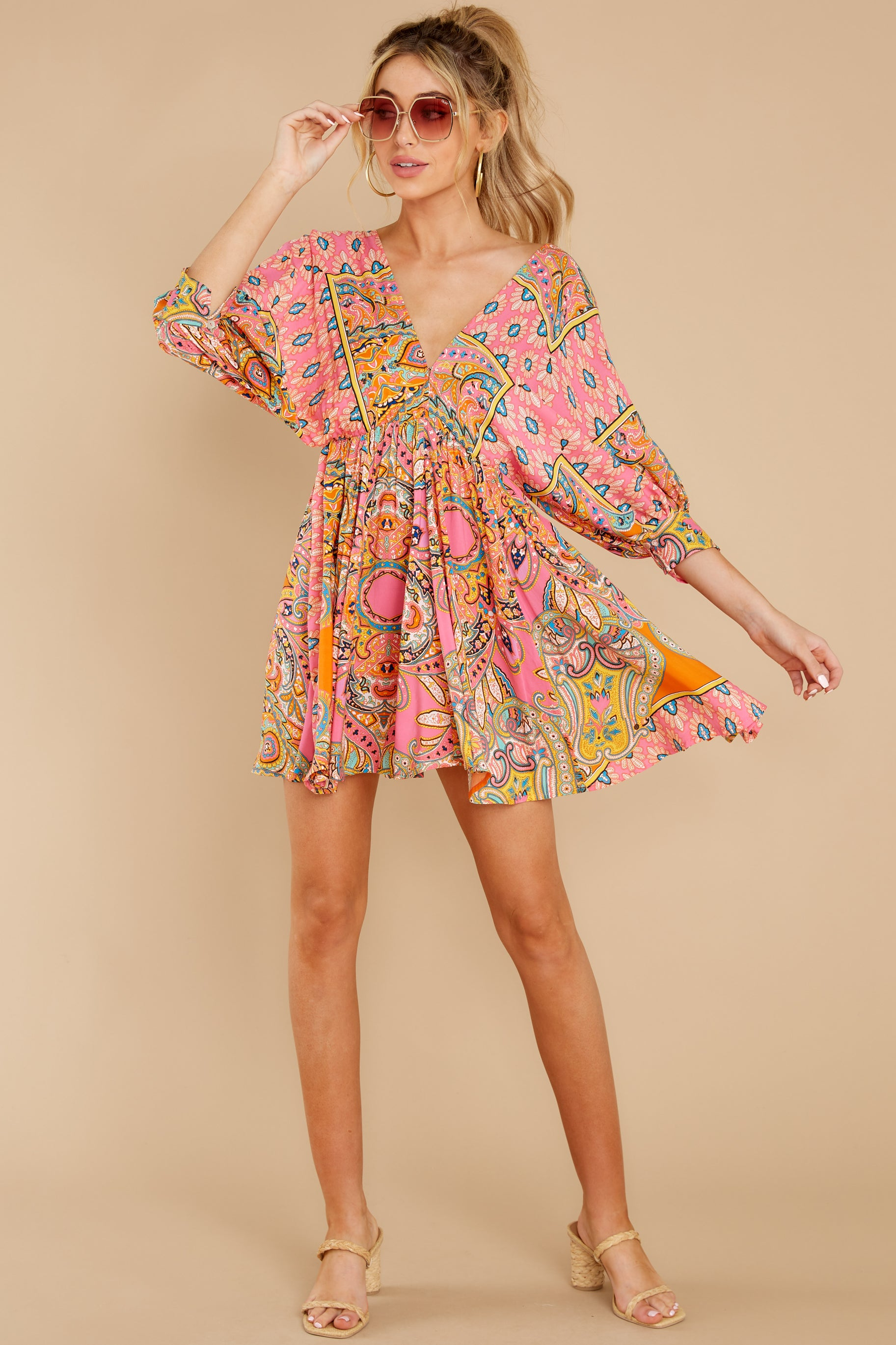 2 Here's To The Chase Pink Multi Print Dress at reddress.com