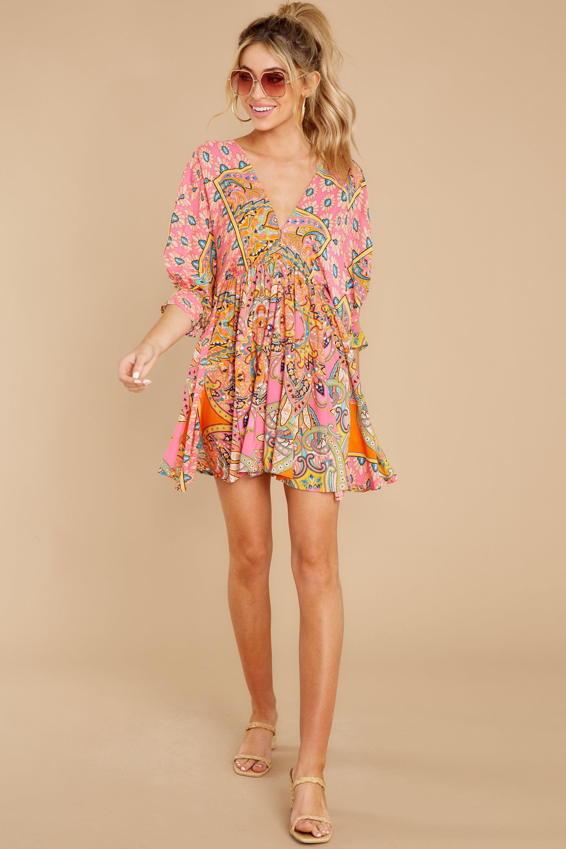 4 Here's To The Chase Pink Multi Print Dress at reddress.com