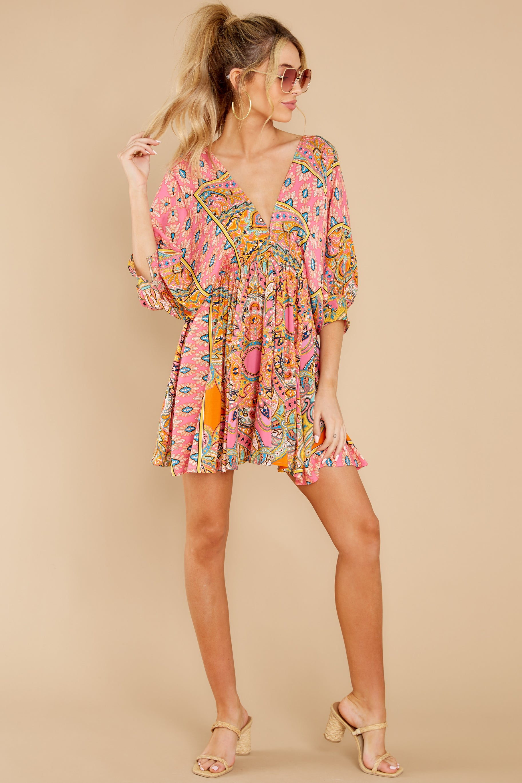 3 Here's To The Chase Pink Multi Print Dress at reddress.com