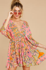5 Here's To The Chase Pink Multi Print Dress at reddress.com