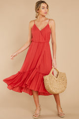 2 Another Round Coral Red Maxi Dress at reddress.com