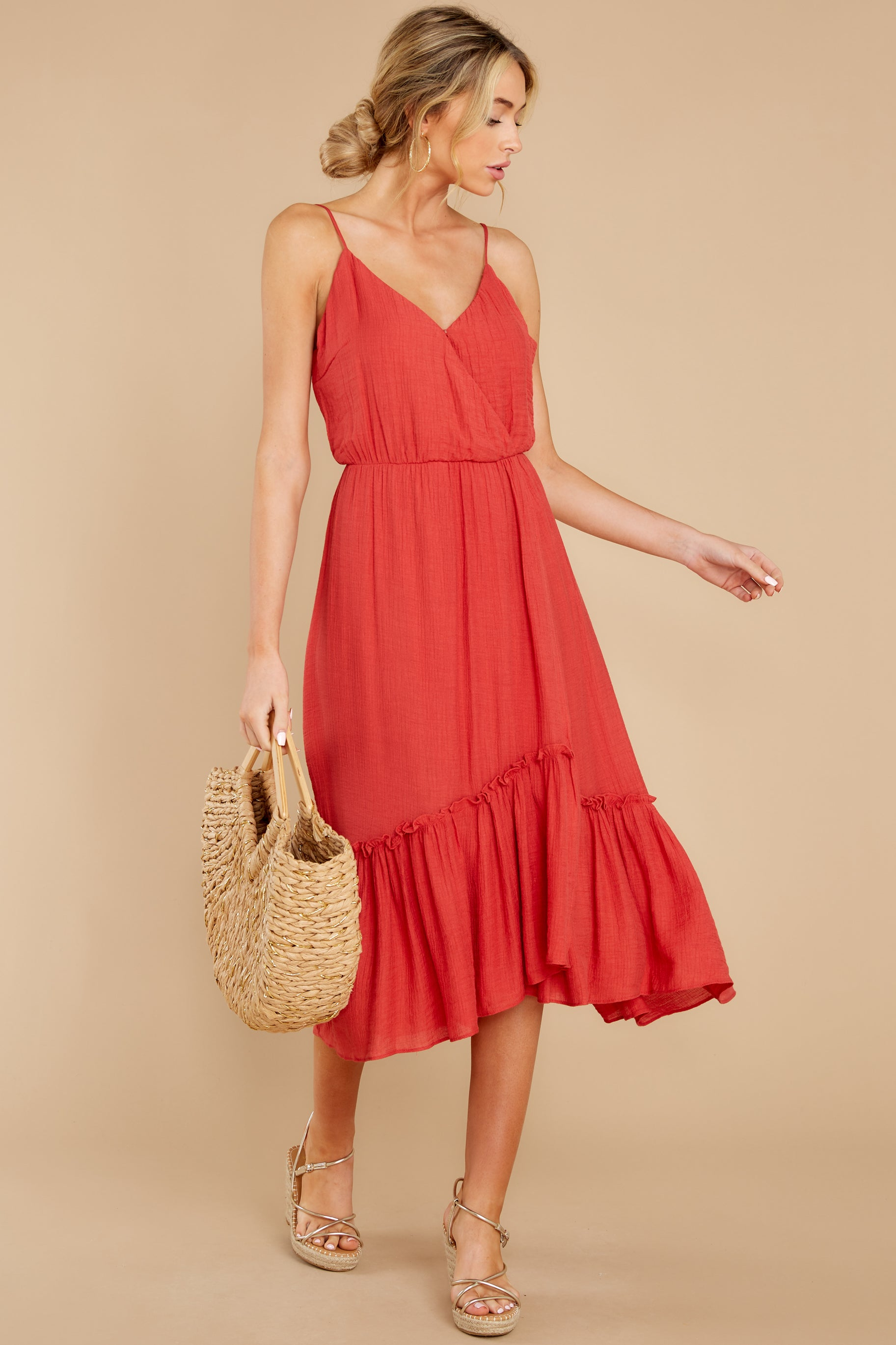6 Another Round Coral Red Maxi Dress at reddress.com