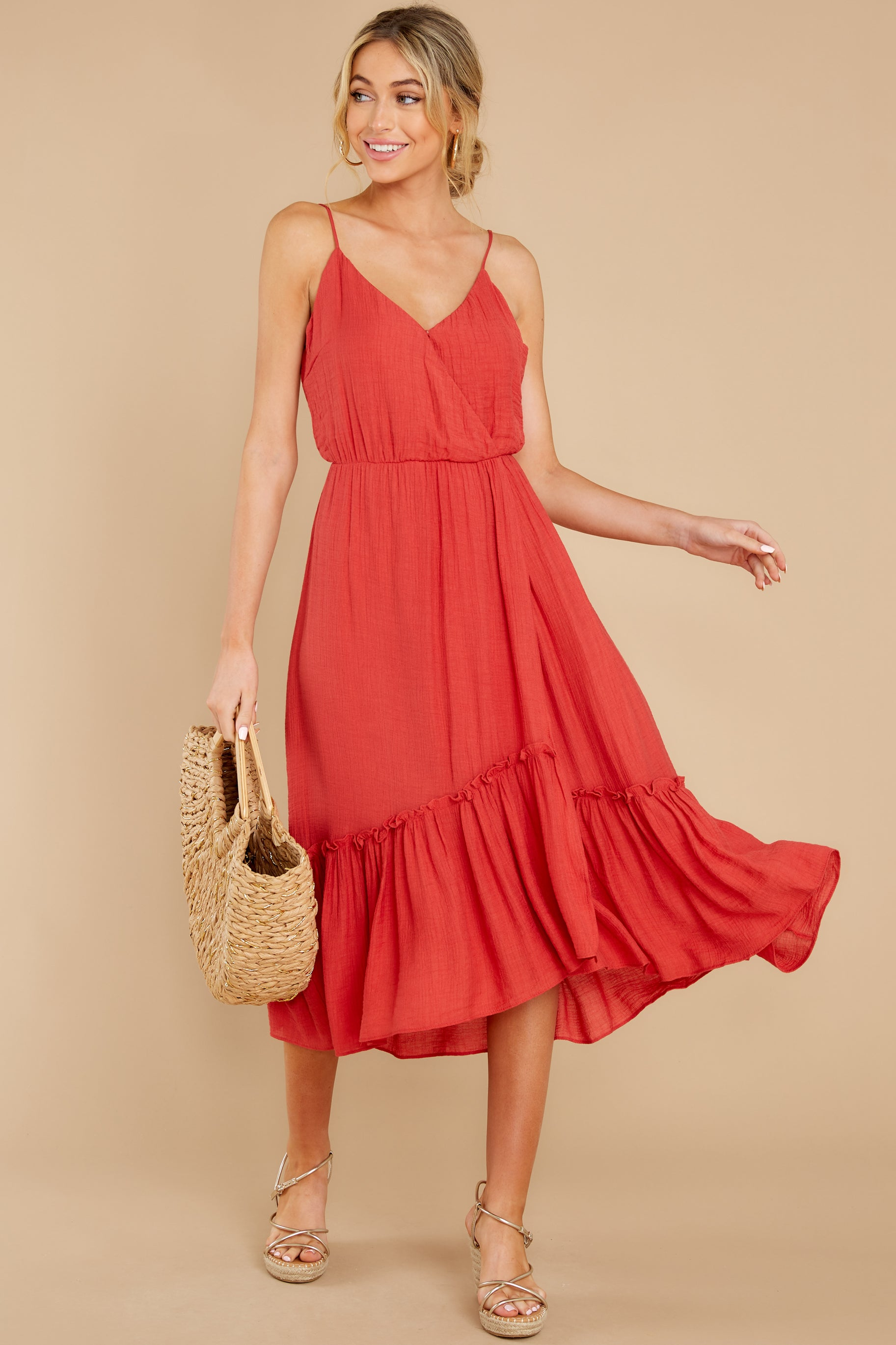 4 Another Round Coral Red Maxi Dress at reddress.com