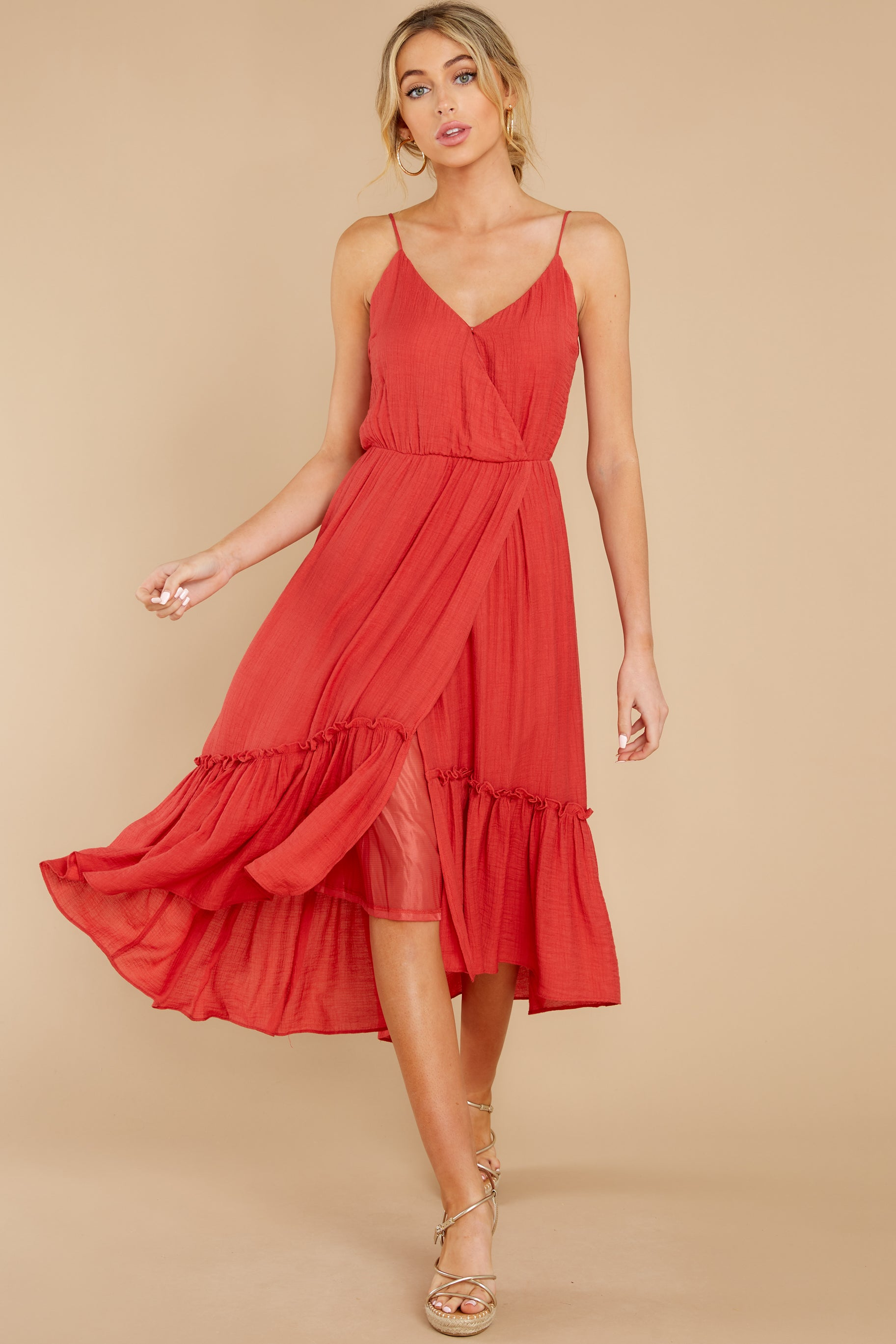7 Another Round Coral Red Maxi Dress at reddress.com