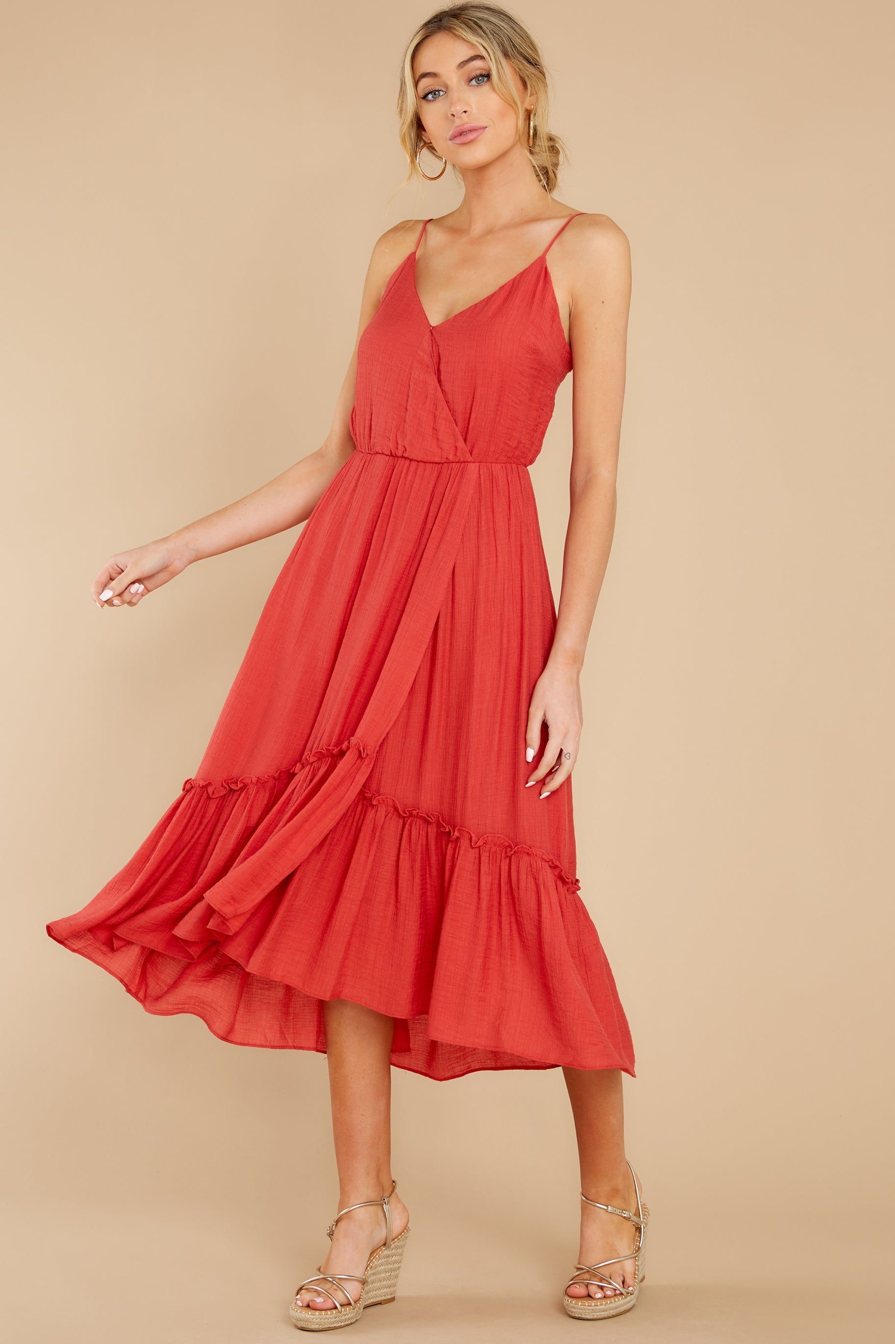 1 Another Round Coral Red Maxi Dress at reddress.com