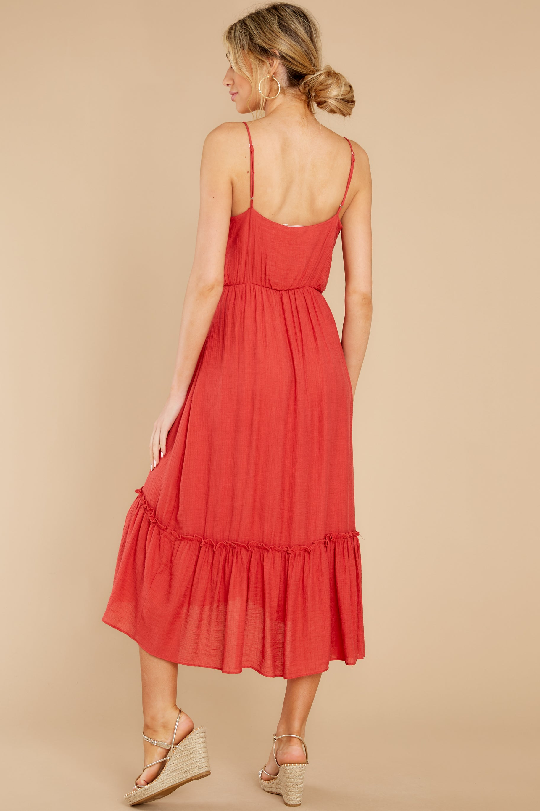 8 Another Round Coral Red Maxi Dress at reddress.com