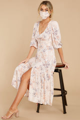 4 Love You More Blush Floral Print Maxi Dress at reddress.com