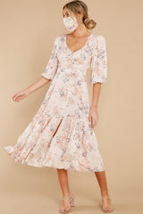 3 Love You More Blush Floral Print Maxi Dress at reddress.com